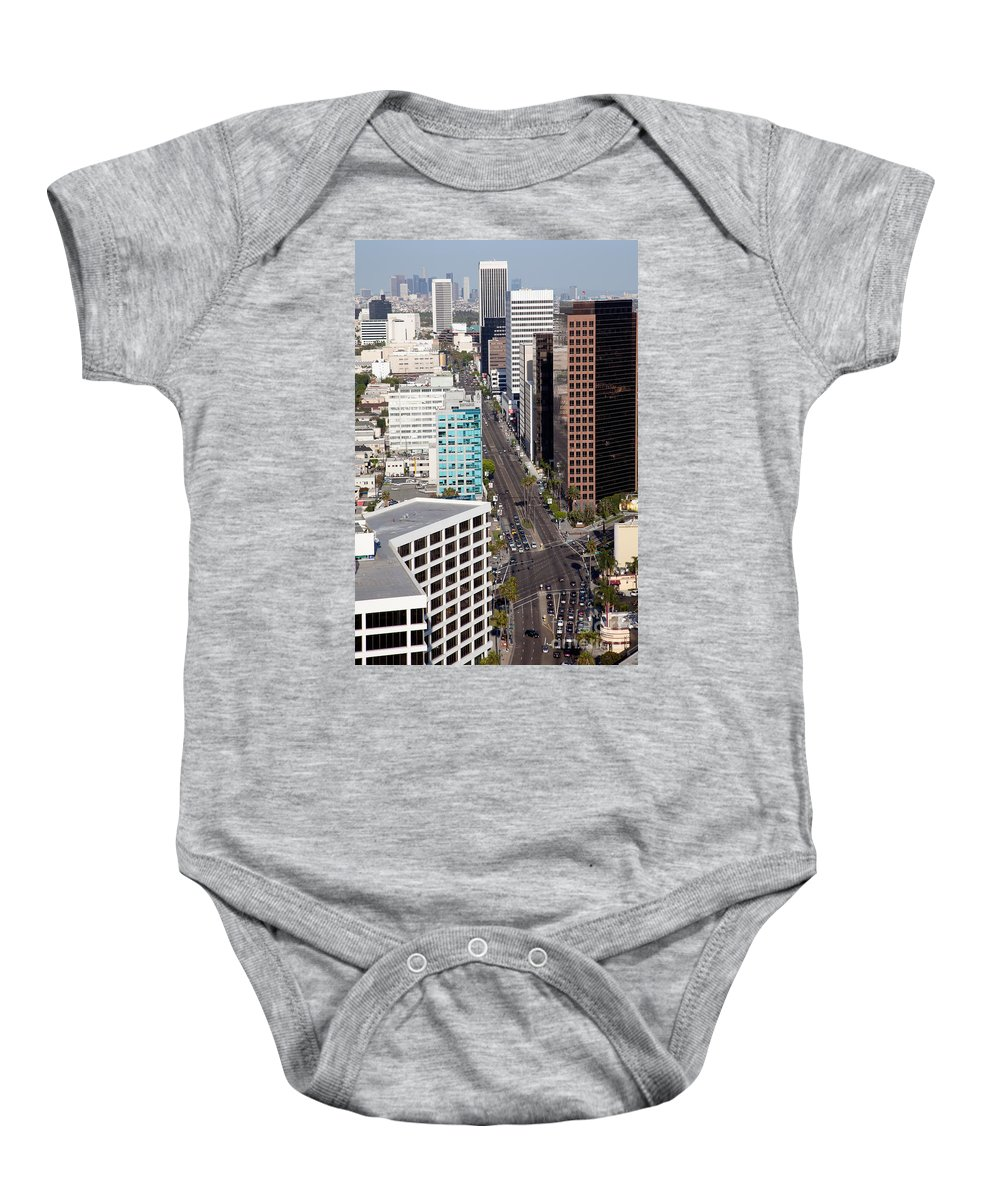 Los Angeles Baby Onesie featuring the photograph Wilshire Blvd Los Angeles California by Bill Cobb