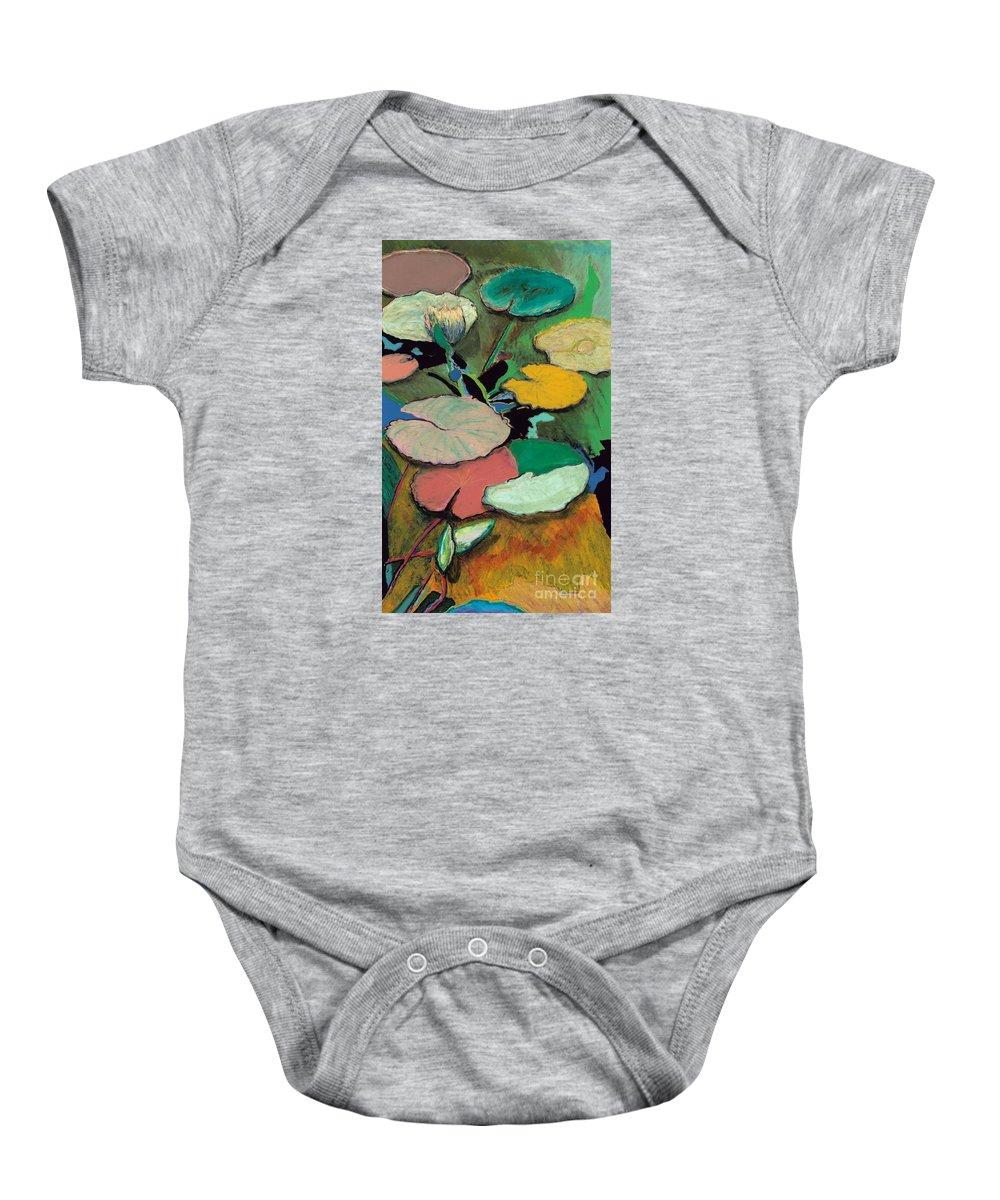 Landscape Baby Onesie featuring the painting Windchime Spring by Allan P Friedlander