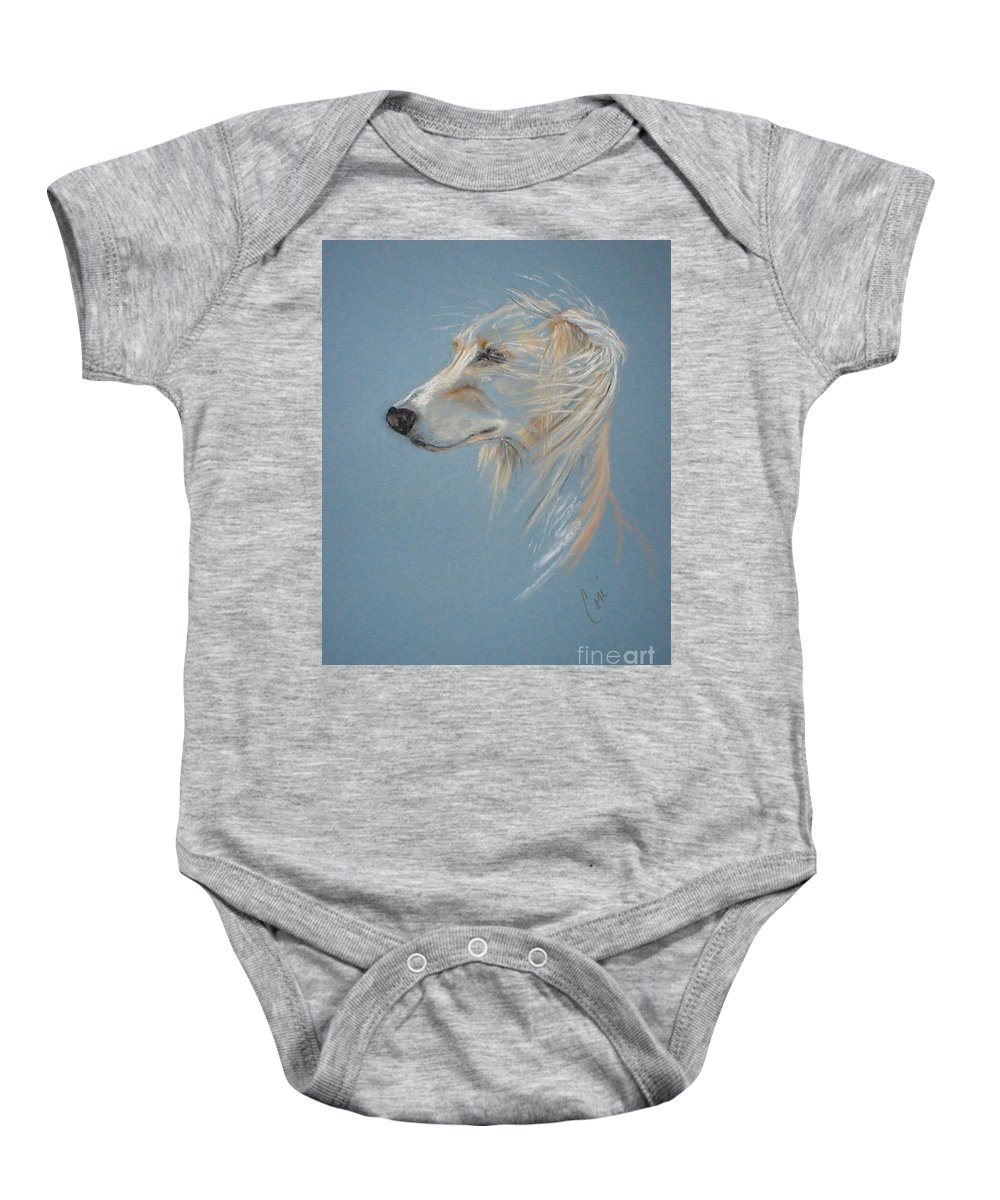 Saluki Baby Onesie featuring the drawing Windhound by Cori Solomon