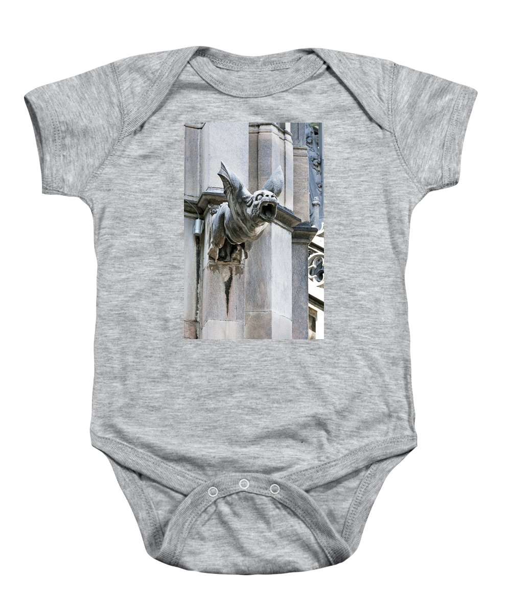 Vertical Baby Onesie featuring the photograph Winged Gargoyle Duomo Di Milano Italia by Sally Rockefeller