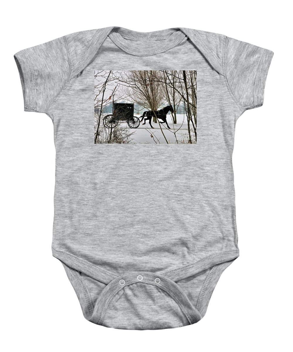 Winter Baby Onesie featuring the photograph Winter Buggy by David Arment