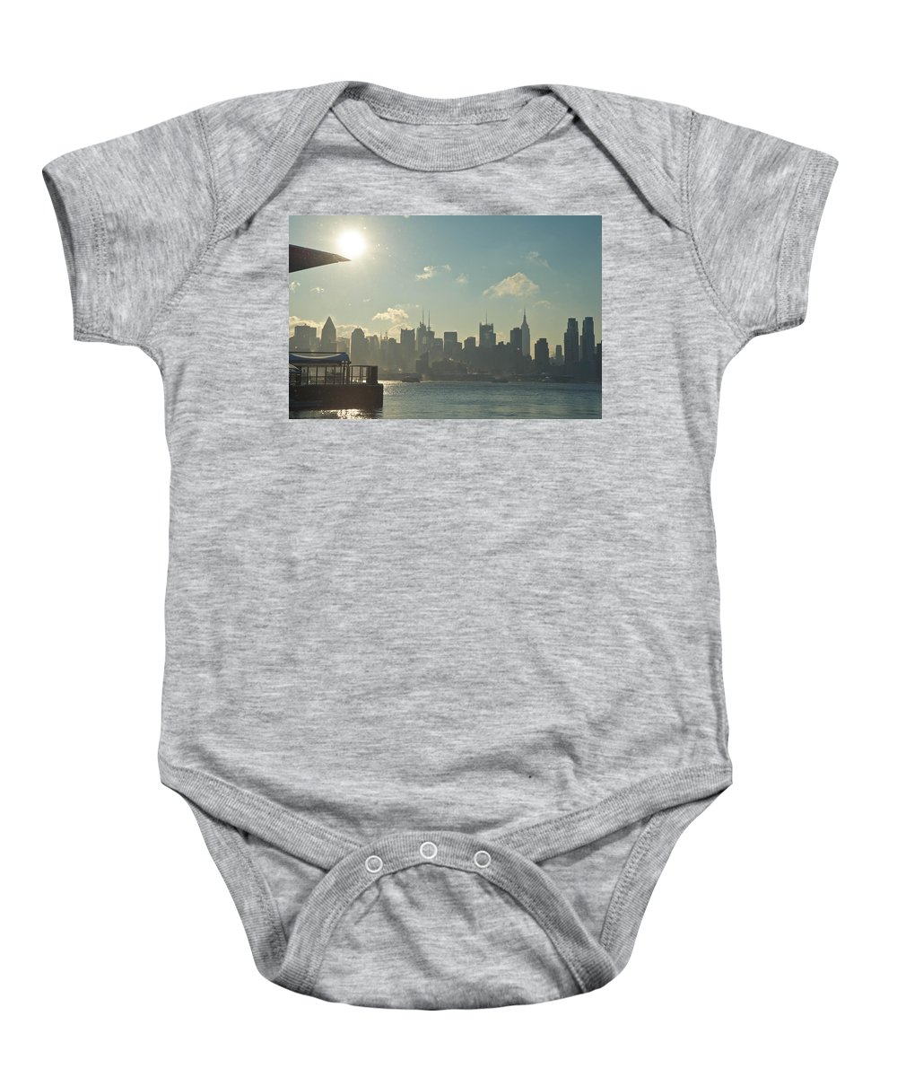 Architecture Baby Onesie featuring the photograph Winter Morning On The Hudson by Zina Zinchik