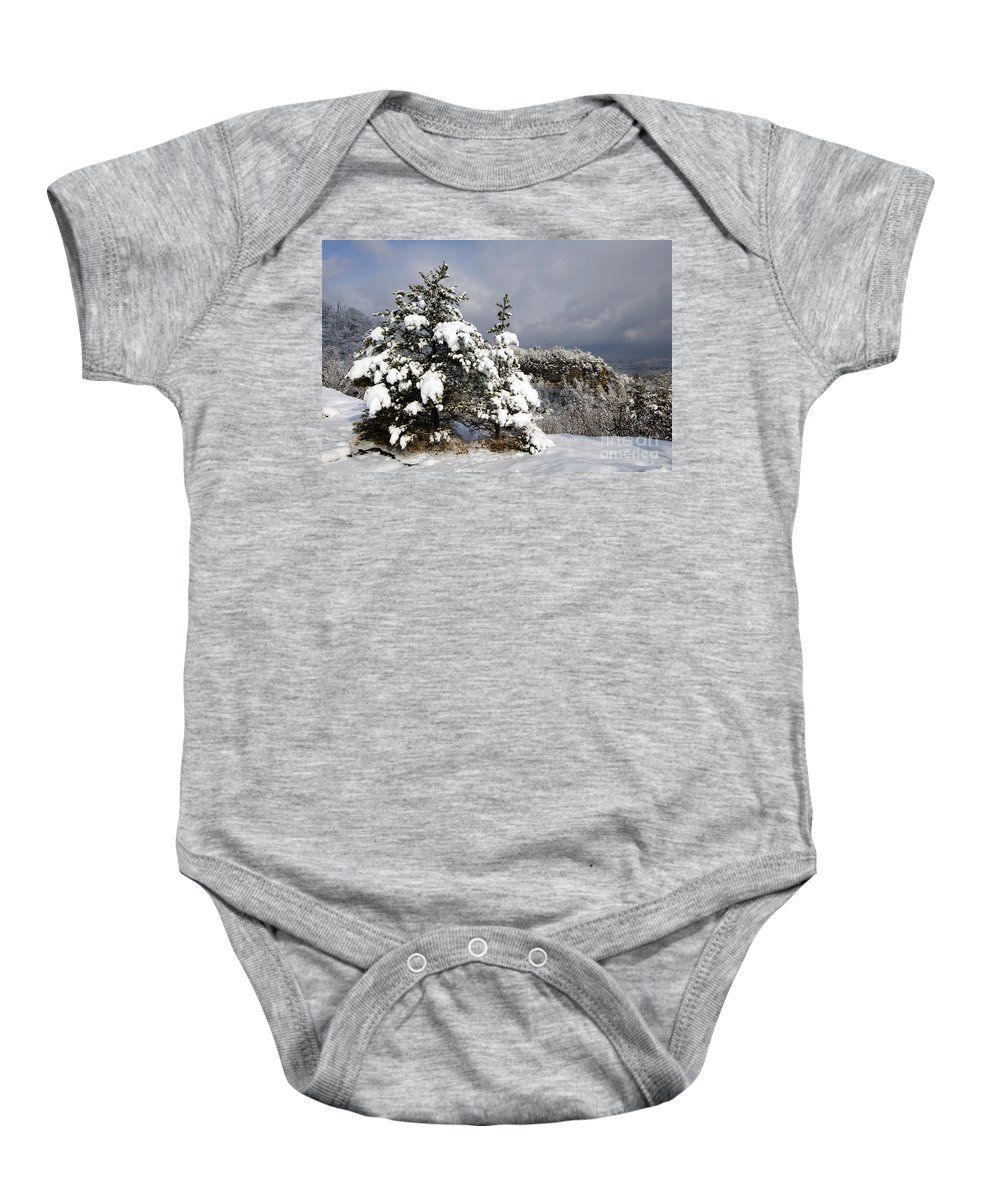 Landscape Baby Onesie featuring the photograph Winter Storm On Natural Bridge - D001598 by Daniel Dempster