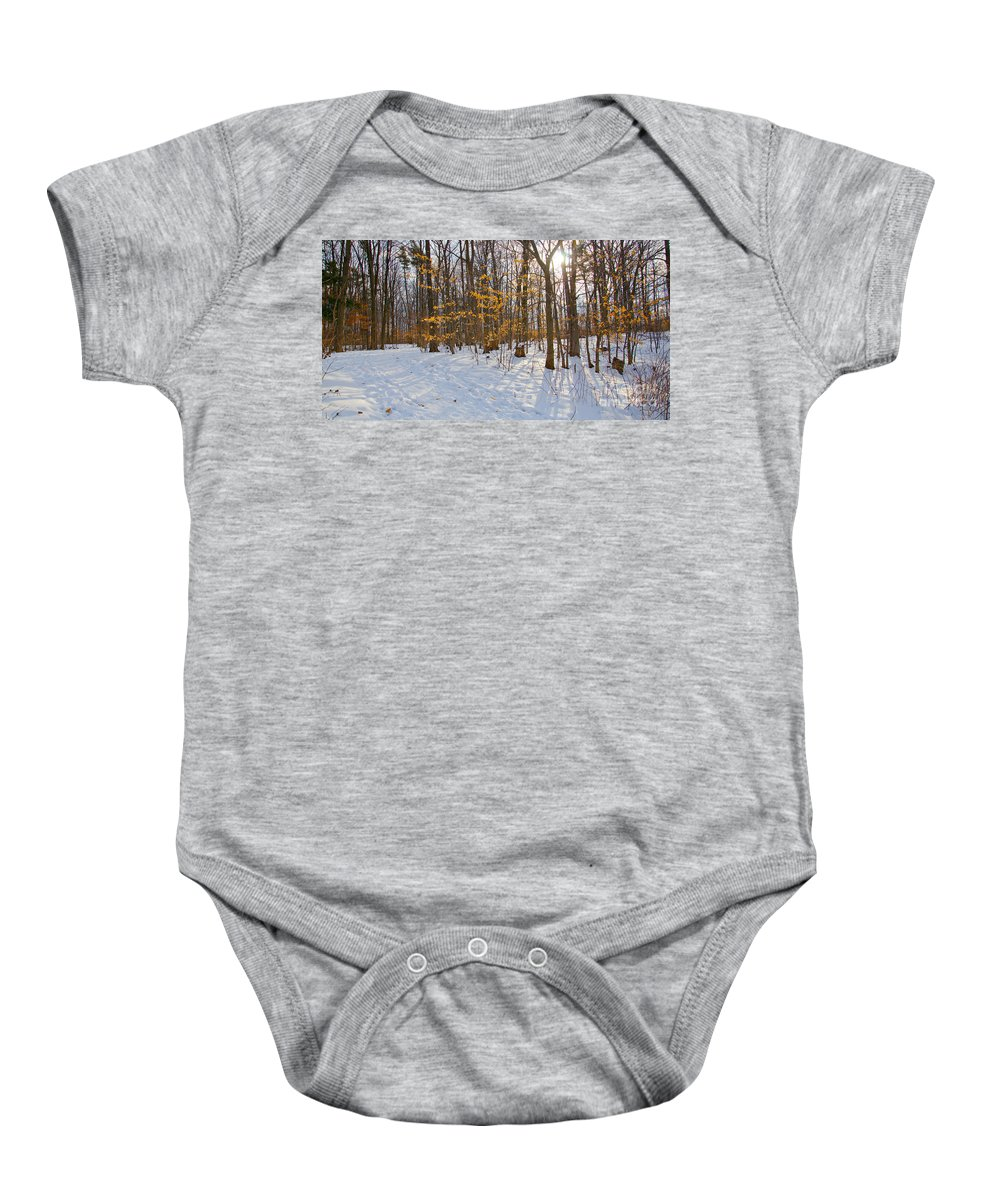 Winter Baby Onesie featuring the photograph Winter Walk by Laurel Best