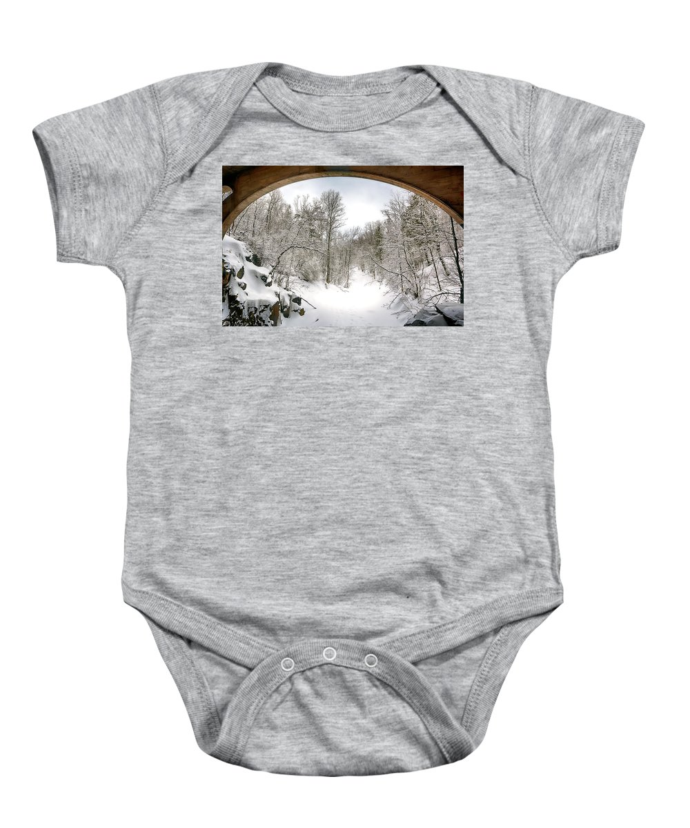 Winter Baby Onesie featuring the photograph Winter Welcome by Bryan Benson