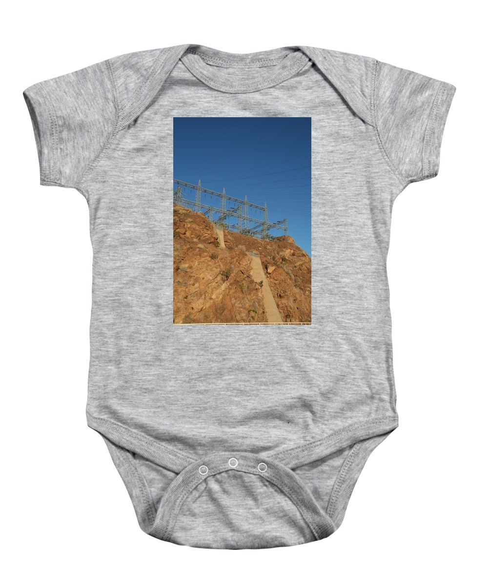 Electricity Baby Onesie featuring the photograph Wiretop by David S Reynolds