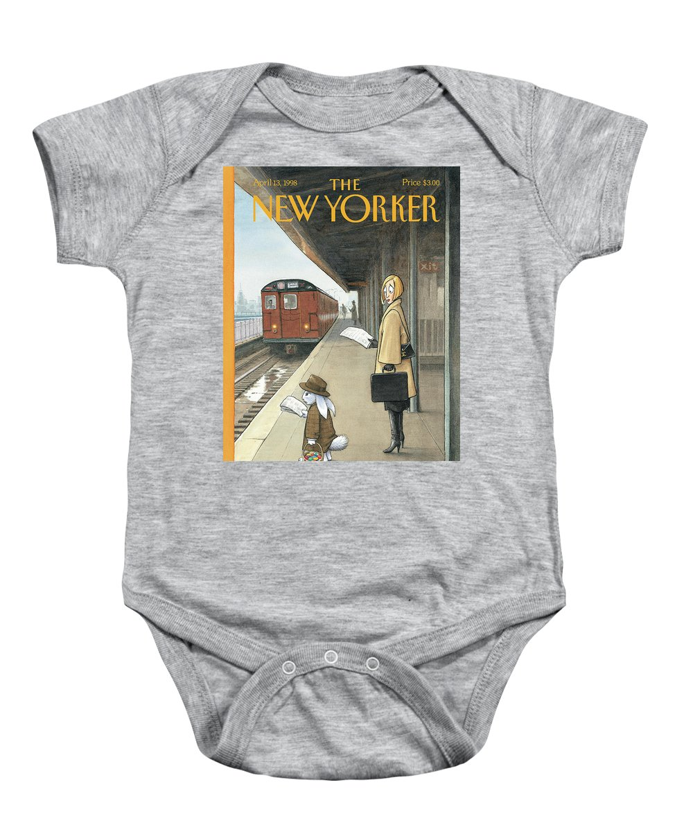 Hbl Harry Bliss Baby Onesie featuring the painting Woman On Train Platform Looking At Easter Bunny by Harry Bliss