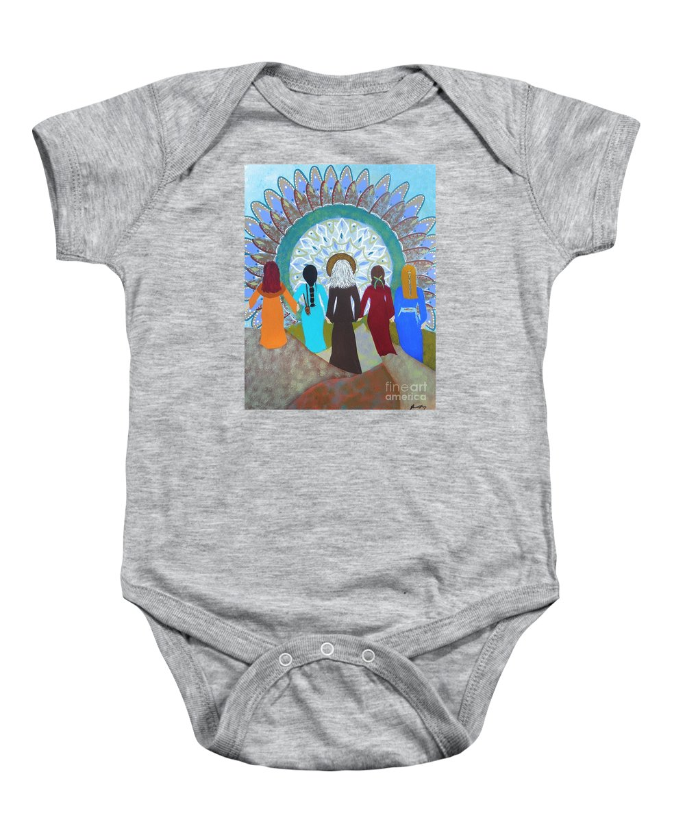 Gathering Of Women Baby Onesie featuring the painting Women's Circle Mandala by Jean Fry