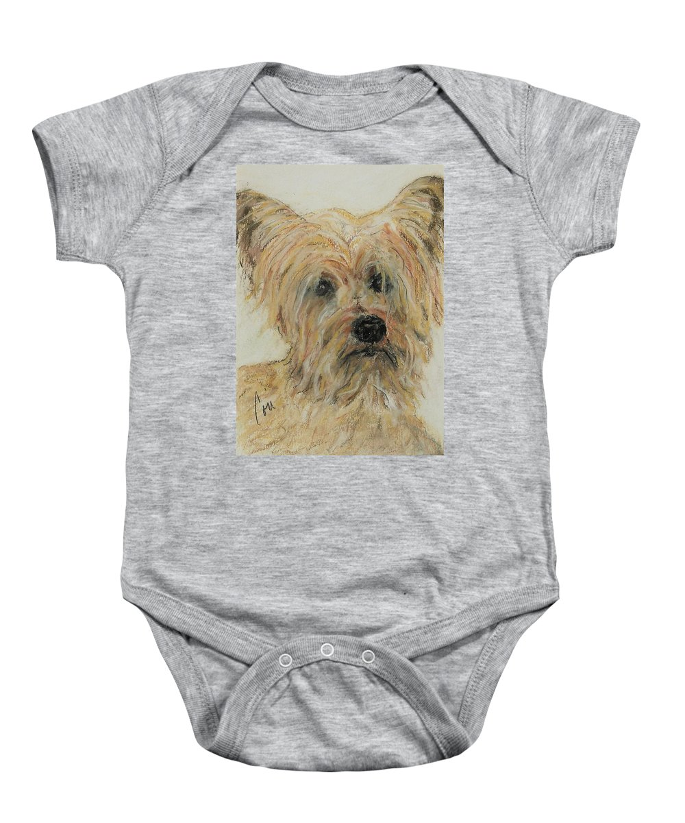 Terrier Baby Onesie featuring the drawing Wonder-ful by Cori Solomon