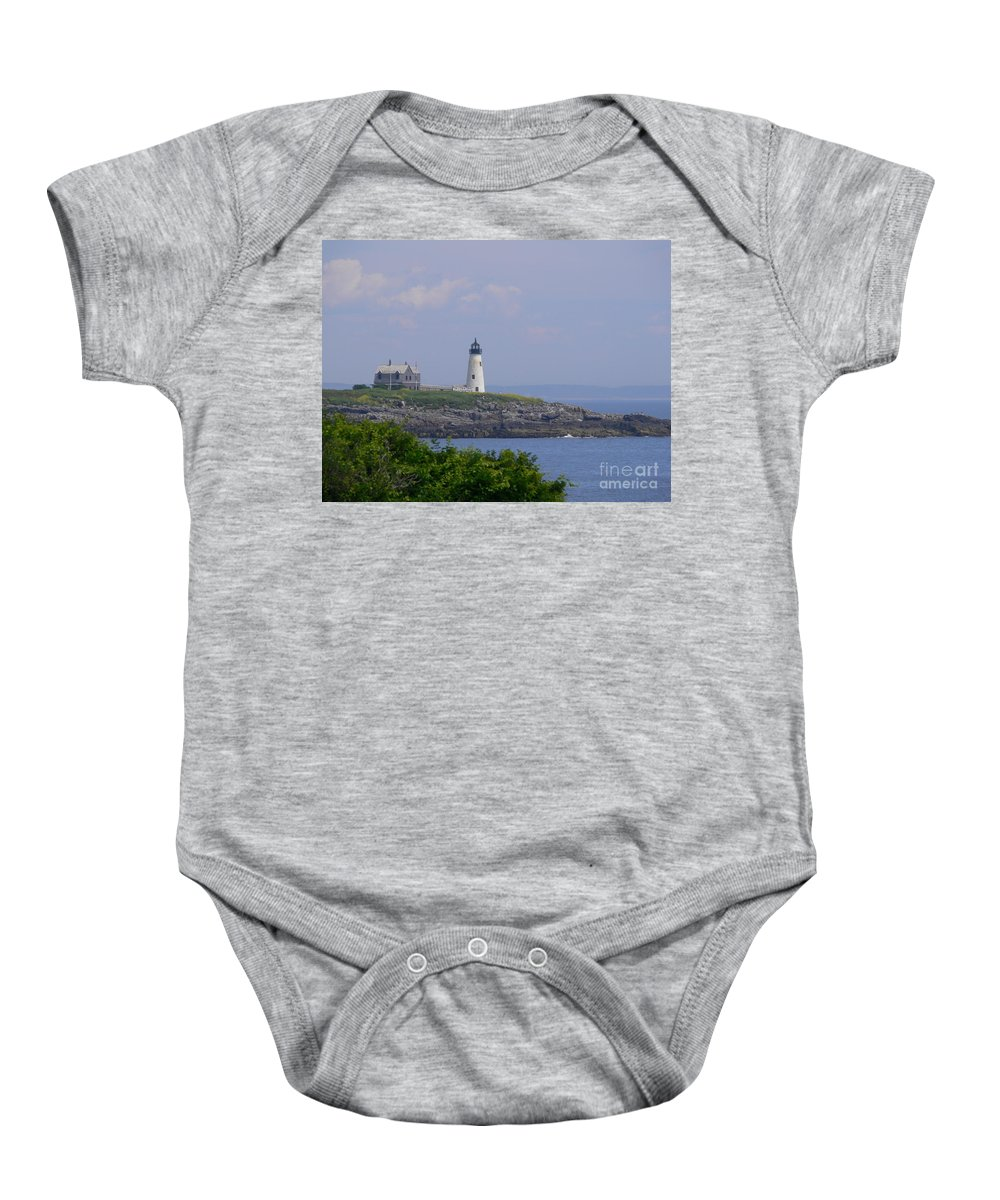 Maine Baby Onesie featuring the photograph Wood Island Lighthouse by Nancie DeMellia