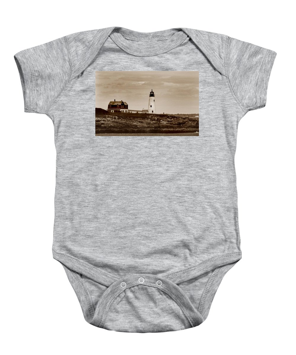 Wood Island Baby Onesie featuring the photograph Wood Island Lighthouse by Skip Willits