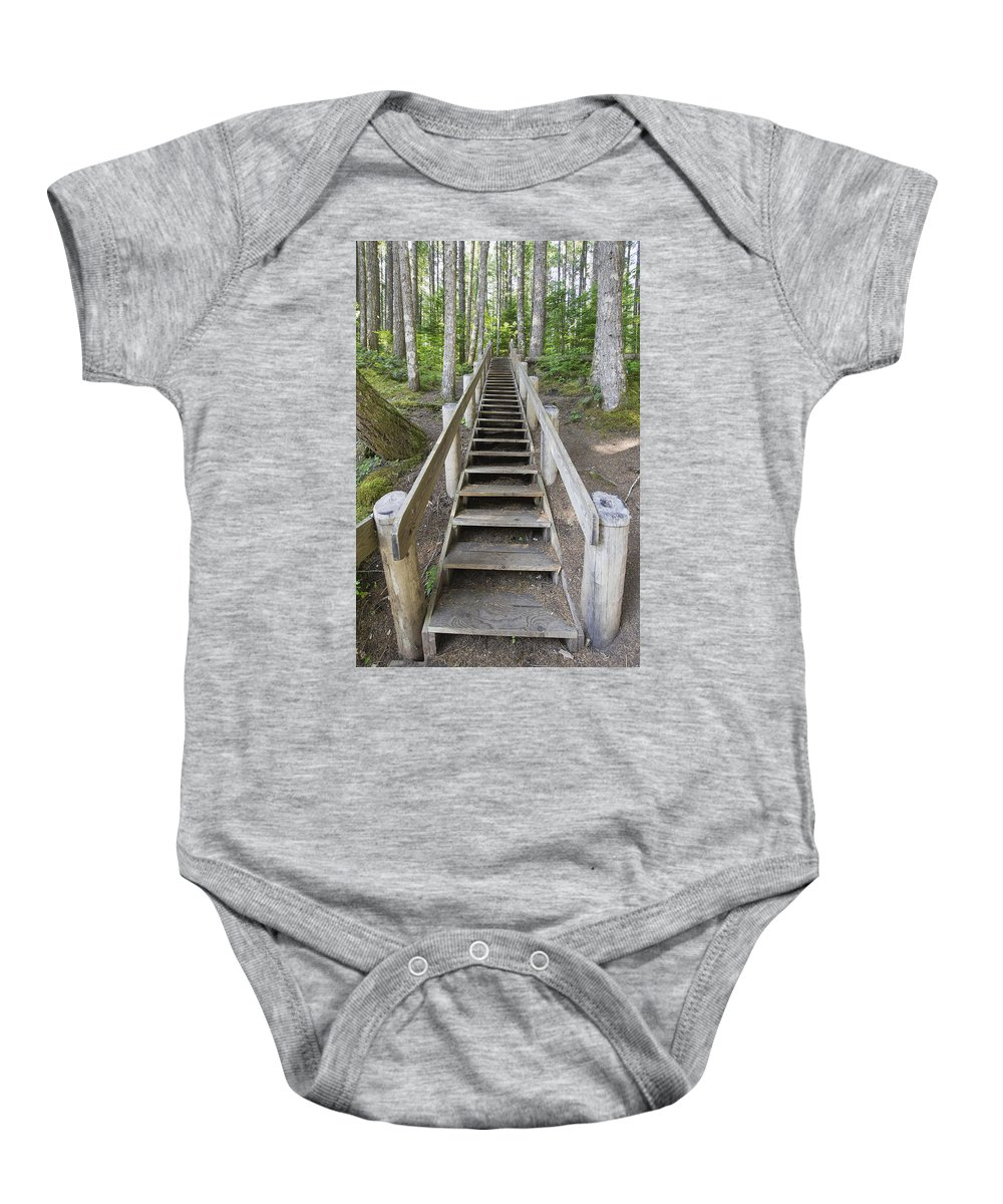 Wood Baby Onesie featuring the photograph Wood Staircase In Hiking Trail by Jit Lim