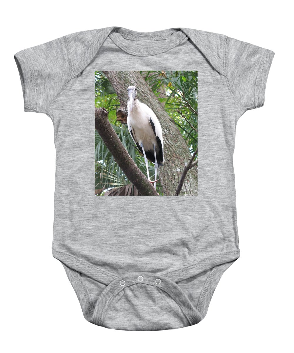Wood Stork Baby Onesie featuring the photograph Wood Stork On A Limp by Christiane Schulze Art And Photography
