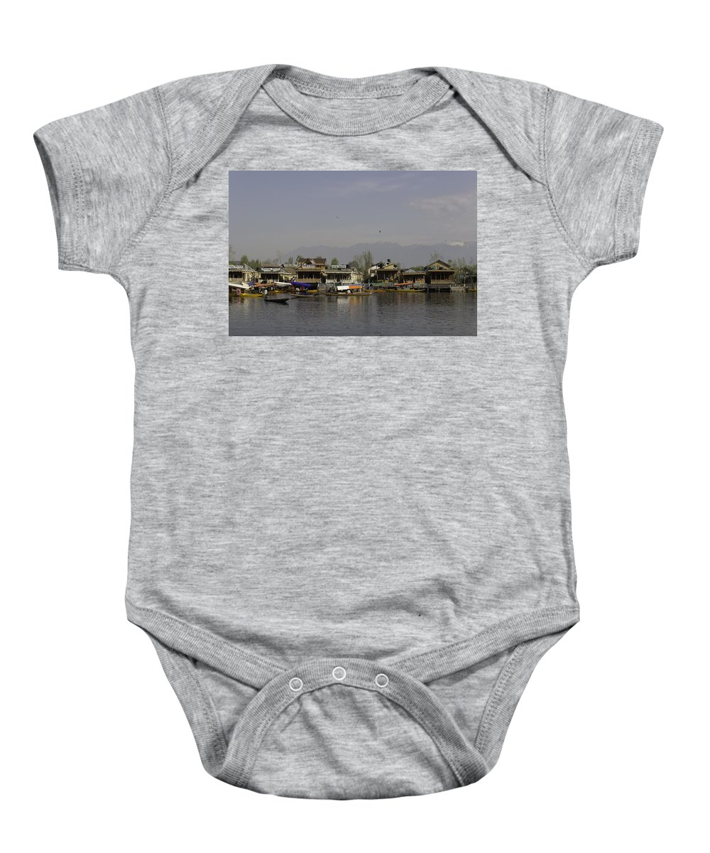 Beautiful Scene Baby Onesie featuring the photograph Wooden Boats Shikaras And Houseboats In The Dal Lake In Srinagar by Ashish Agarwal