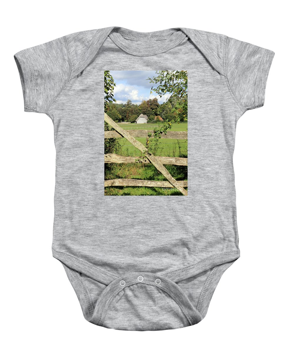 Traditional Gate Wooden Sussex Uk Baby Onesie featuring the photograph Wooden Gate Sussex Uk by Julia Gavin