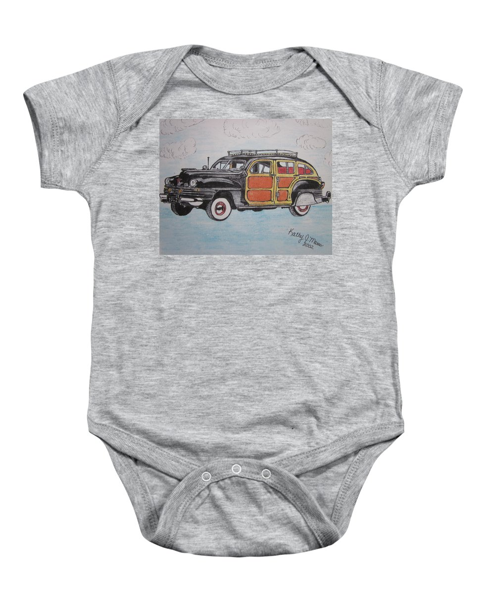Woodie Baby Onesie featuring the painting Woodie Station Wagon by Kathy Marrs Chandler