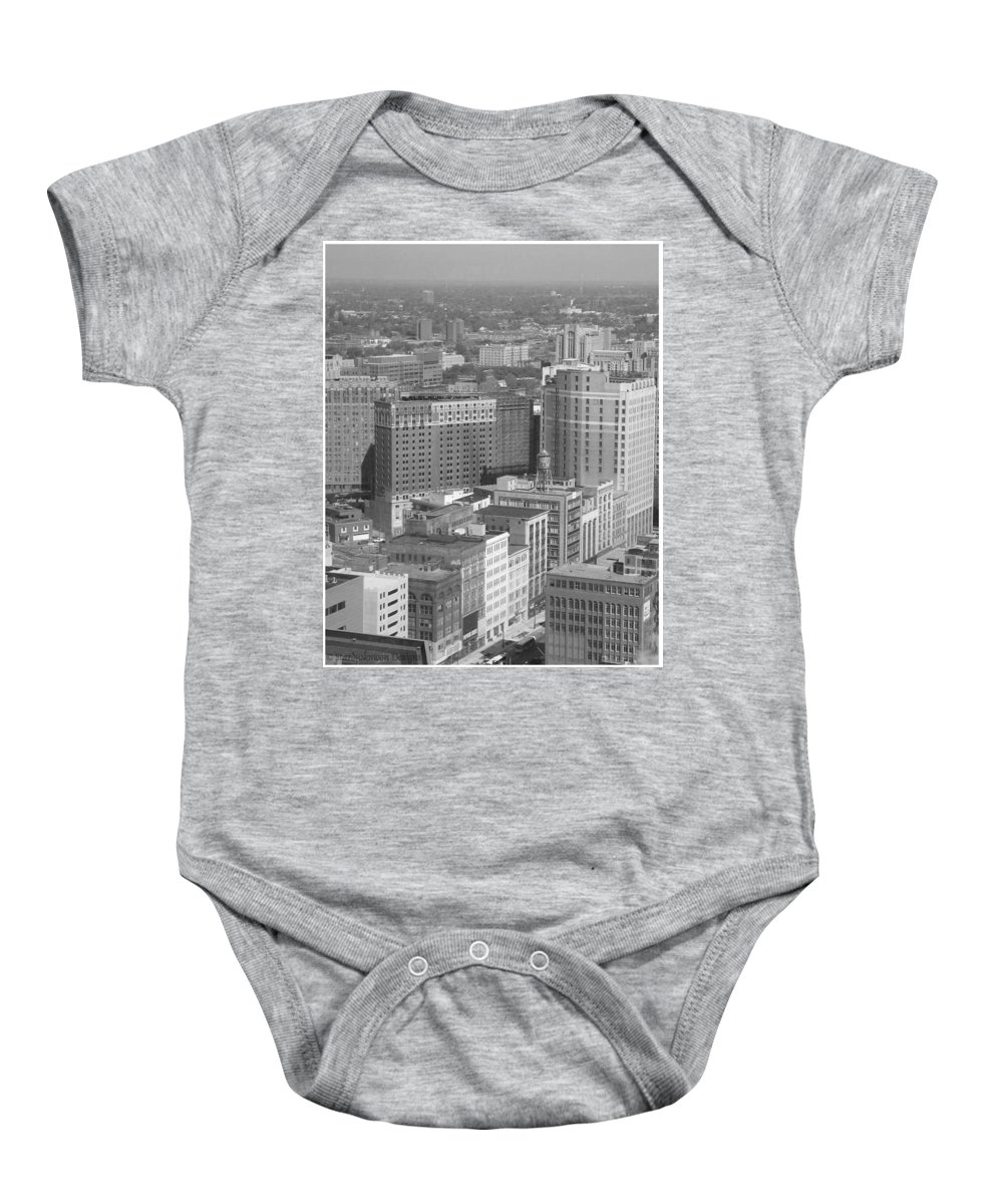 Detroit Baby Onesie featuring the photograph Woodward Avenue Bw by Crystal Hubbard