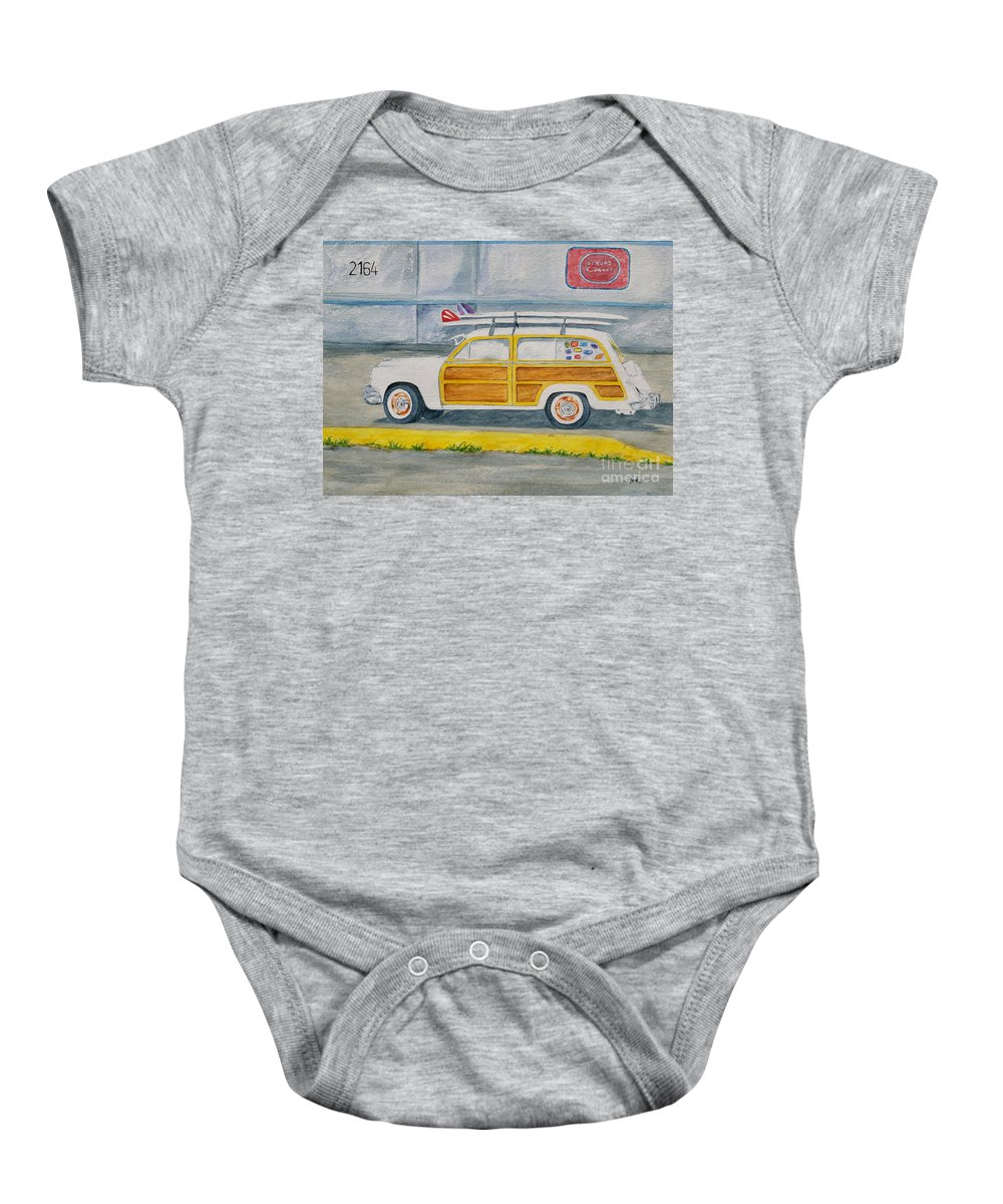 Woody Paintings Baby Onesie featuring the painting Woody by Regan J Smith