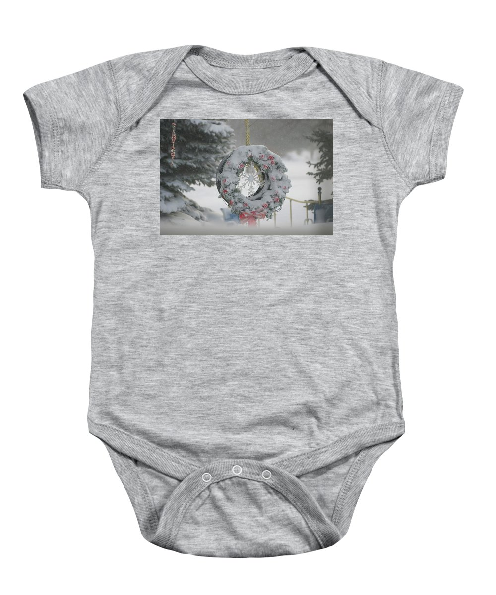 Snow Covered Wreath Photographs Baby Onesie featuring the photograph Wreath In A Snow Storm by Thomas Woolworth
