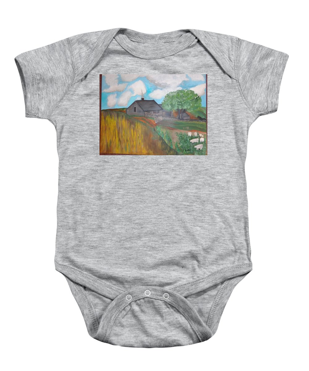 Emily Bronte Haworth Withinsfarm Emily Book Wuthering Heightsanimals Sheep Horse Hay Charlotte Bronte Farm Baby Onesie featuring the painting Wuthering Heights by Carol Lynn Bronte