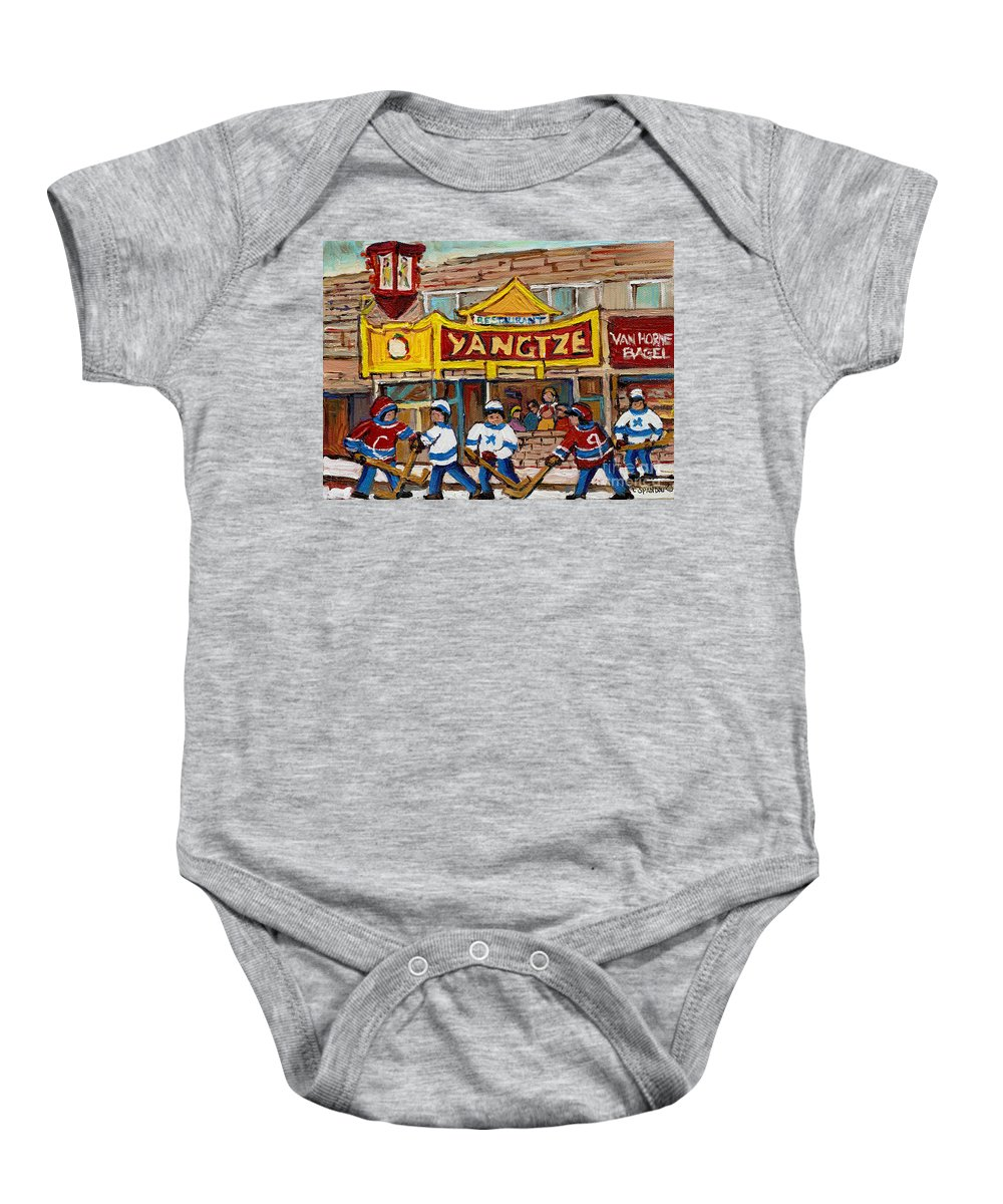 Montreal Baby Onesie featuring the painting Yangtze Restaurant With Van Horne Bagel And Hockey by Carole Spandau