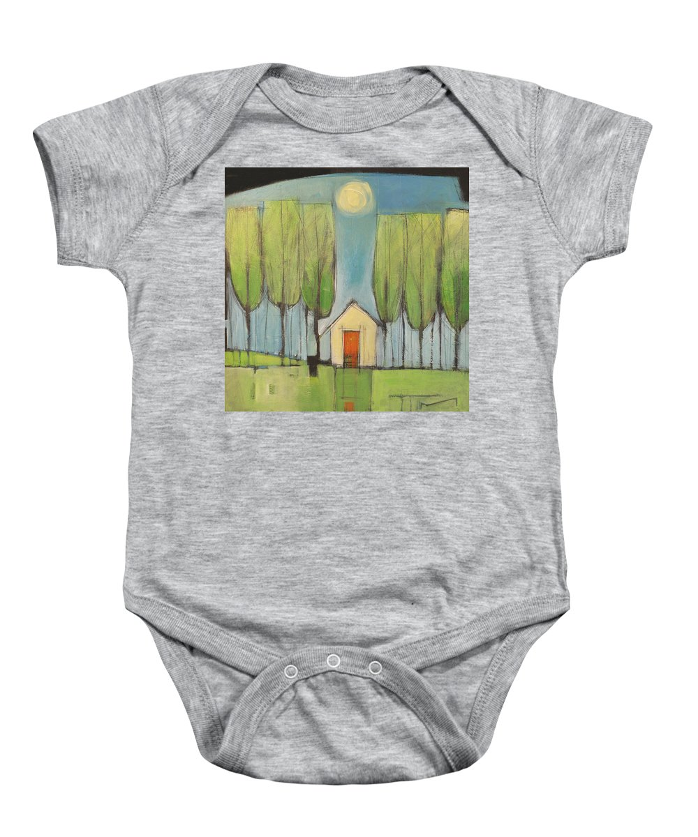 House Baby Onesie featuring the painting Yellow House In Woods by Tim Nyberg