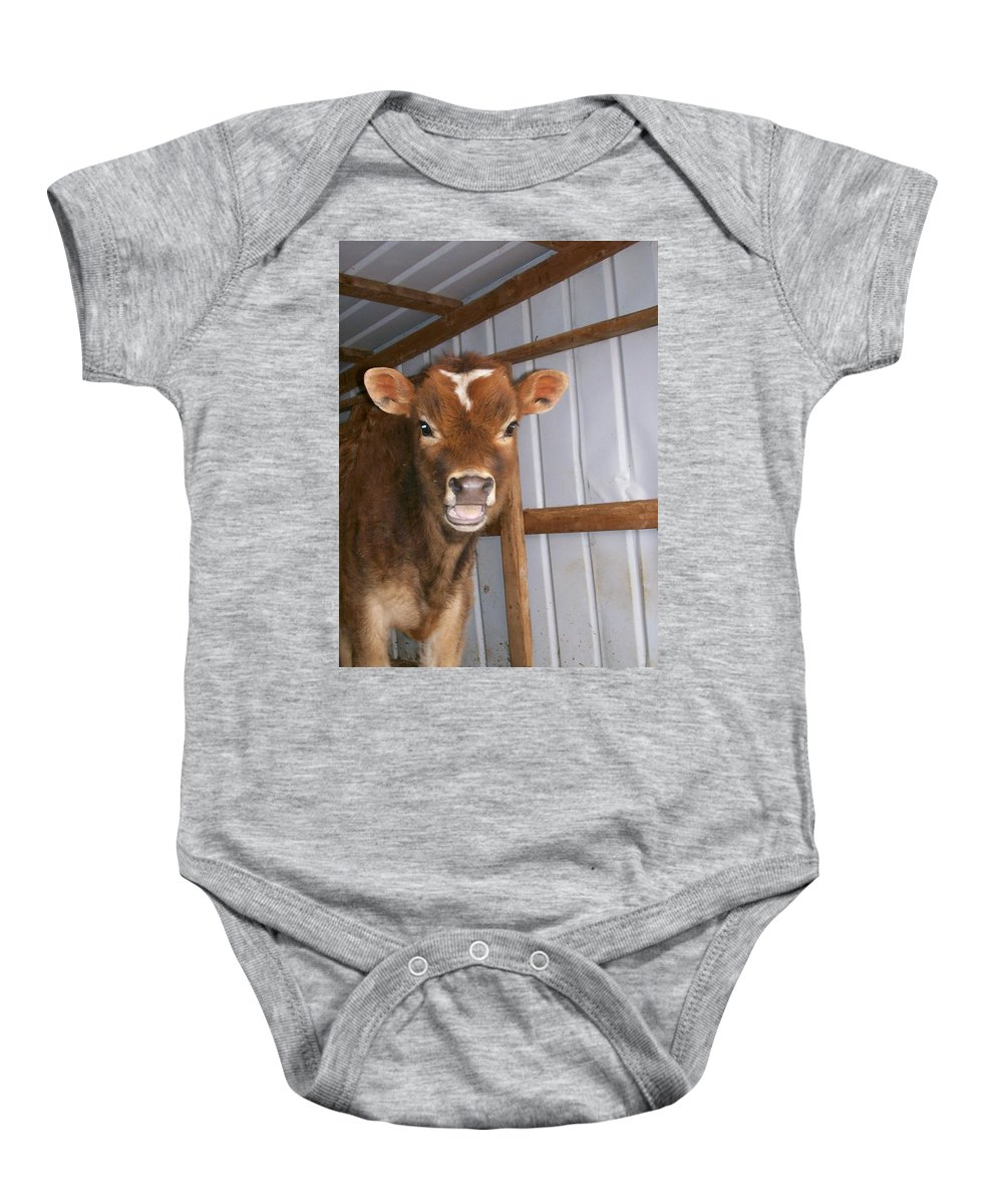 Cow Baby Onesie featuring the photograph Yes I'm Talking To You by Sara Raber