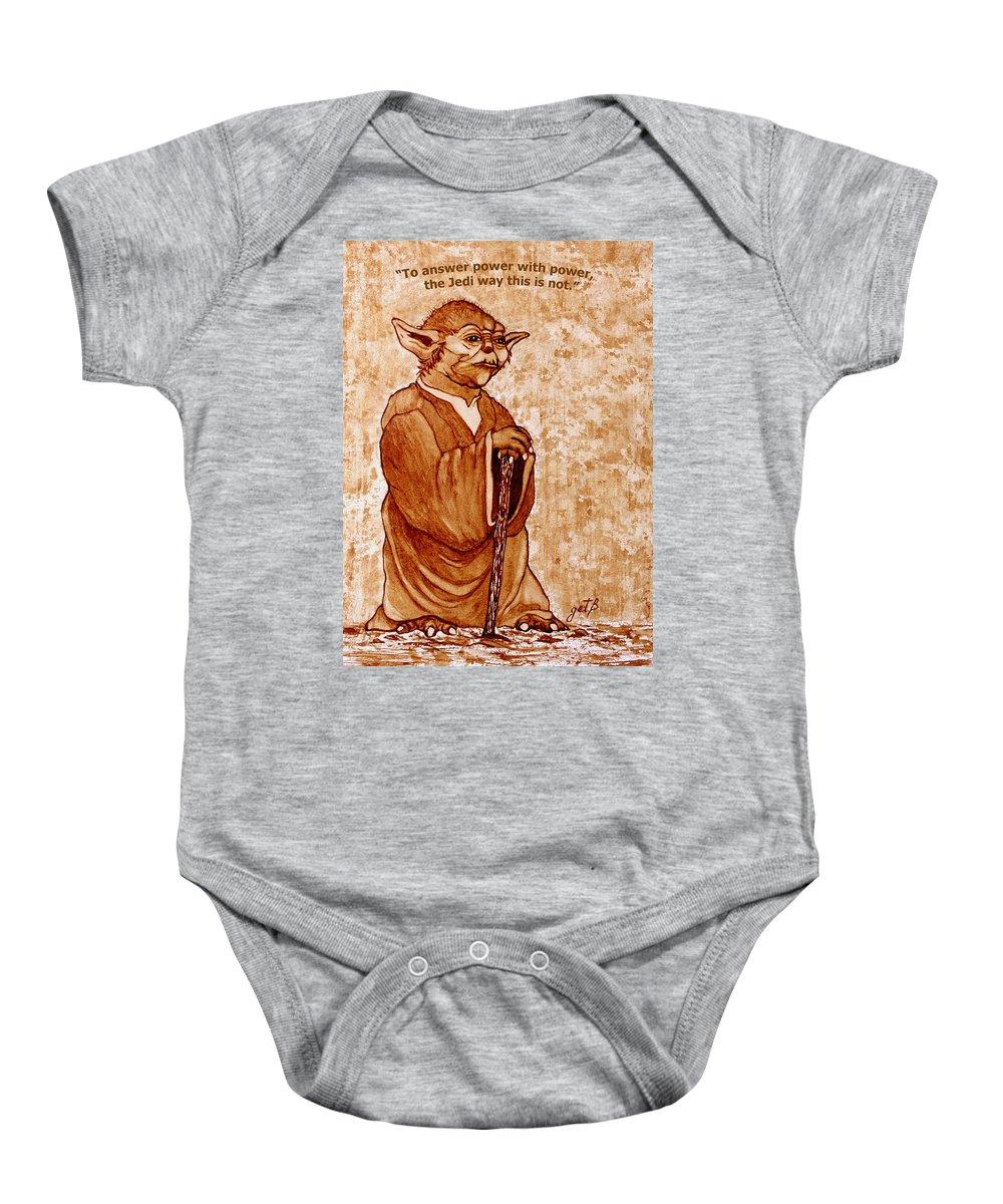 Master Yoda Sayings Baby Onesie featuring the painting Yoda Wisdom Original Coffee Painting by Georgeta Blanaru