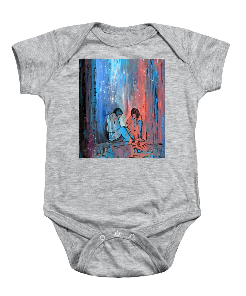 People Baby Onesie featuring the painting You And Me by Miki De Goodaboom