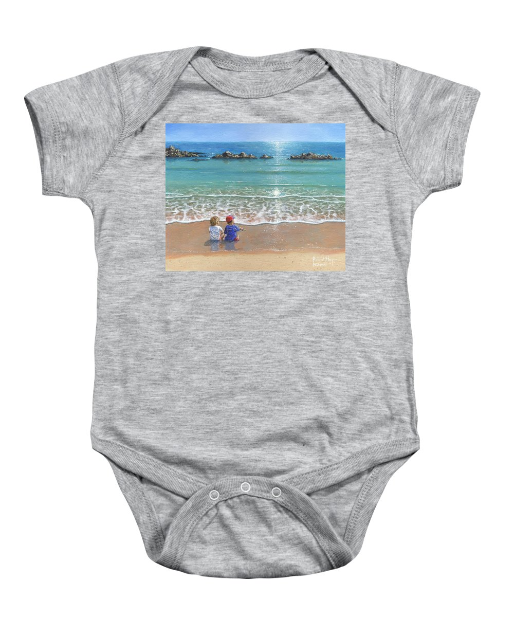 Landscape Baby Onesie featuring the painting You And Me by Richard Harpum