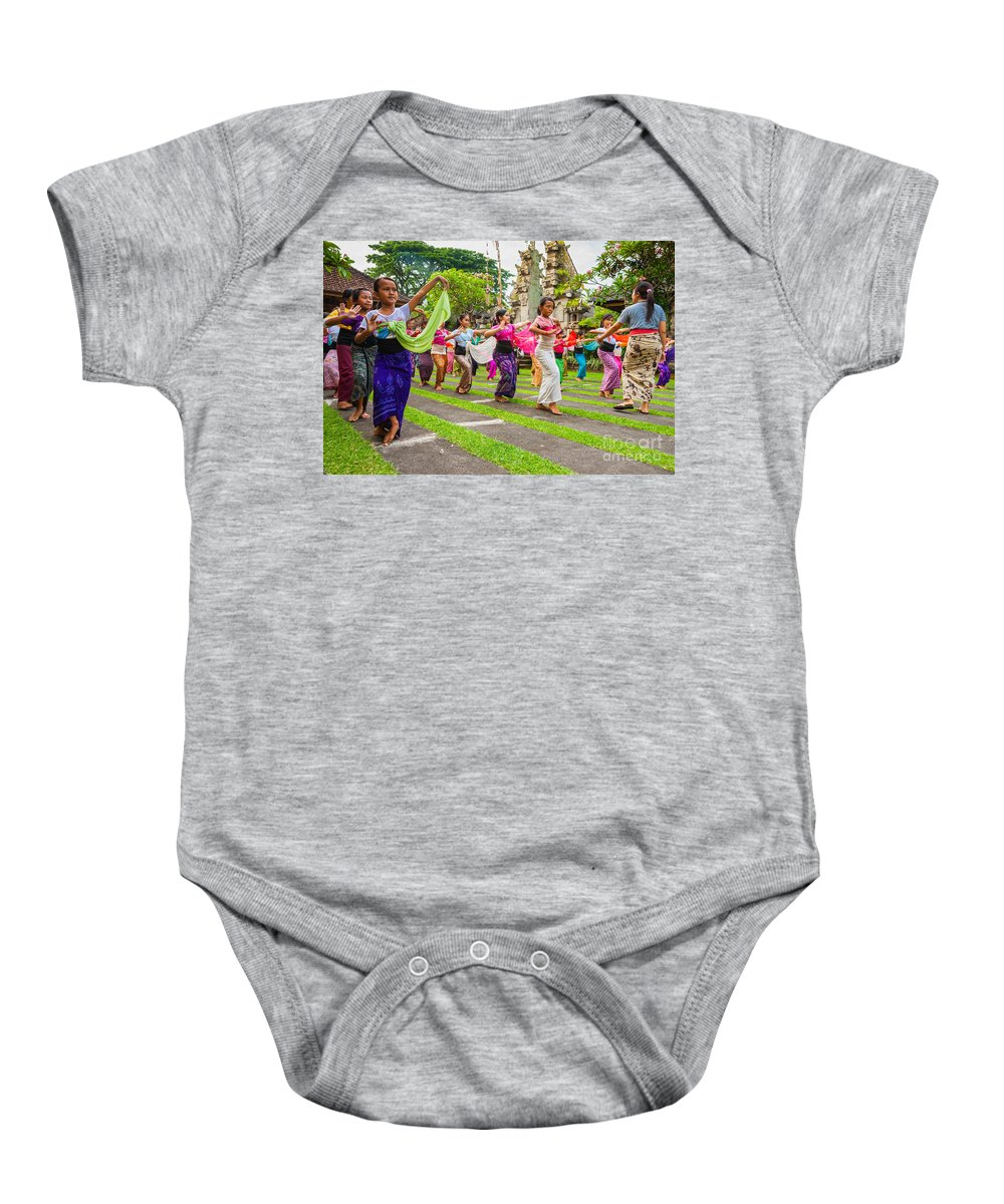 Architecture Baby Onesie featuring the photograph Young Bali Dancers - Indonesia by Luciano Mortula