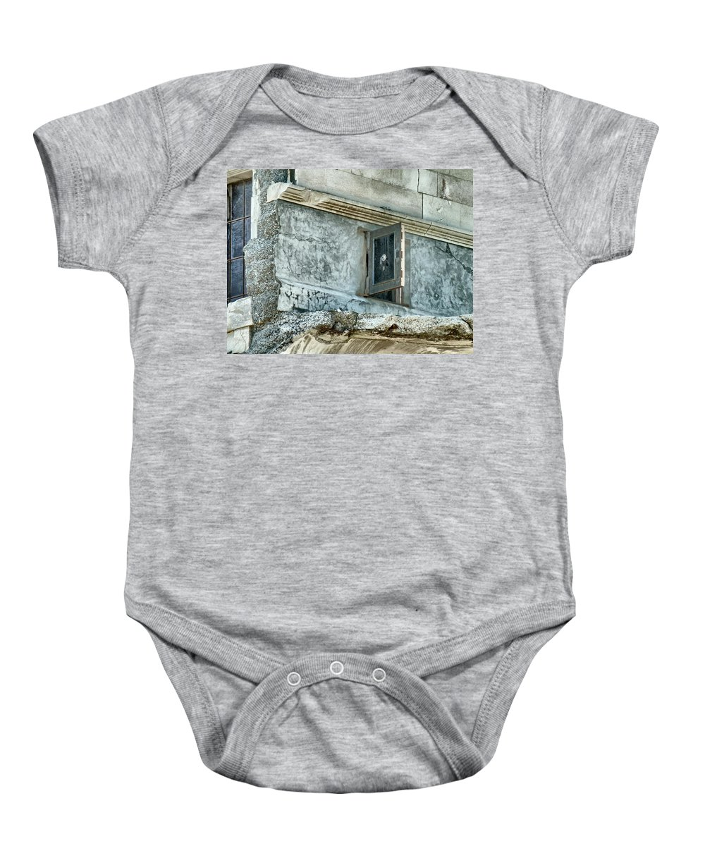 Safe Baby Onesie featuring the photograph You're Only Supposed To Blow The Bloody Doors Off by Steve Taylor