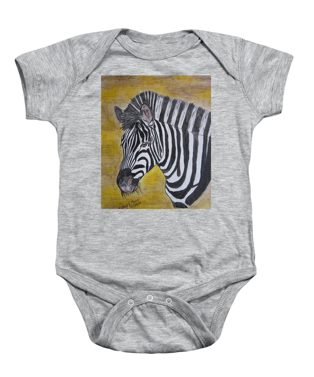 Zebra Baby Onesie featuring the painting Zebra Portrait by Kathy Marrs Chandler