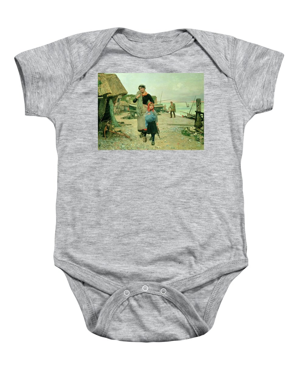 Anchor; Clogs; David Copperfield; Fish; Fisherman; Fisherwoman; Fishing Net; Mother; Child; Boats; Beach; Cottages; Normandy Baby Onesie featuring the painting Fisherfolk Returning With Their Nets by Henry Bacon