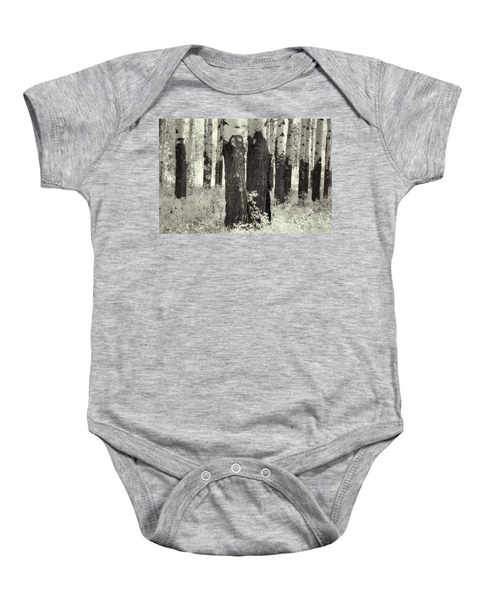 Trees Baby Onesie featuring the digital art Muleshoe Trees Infra Red by Diane Dugas