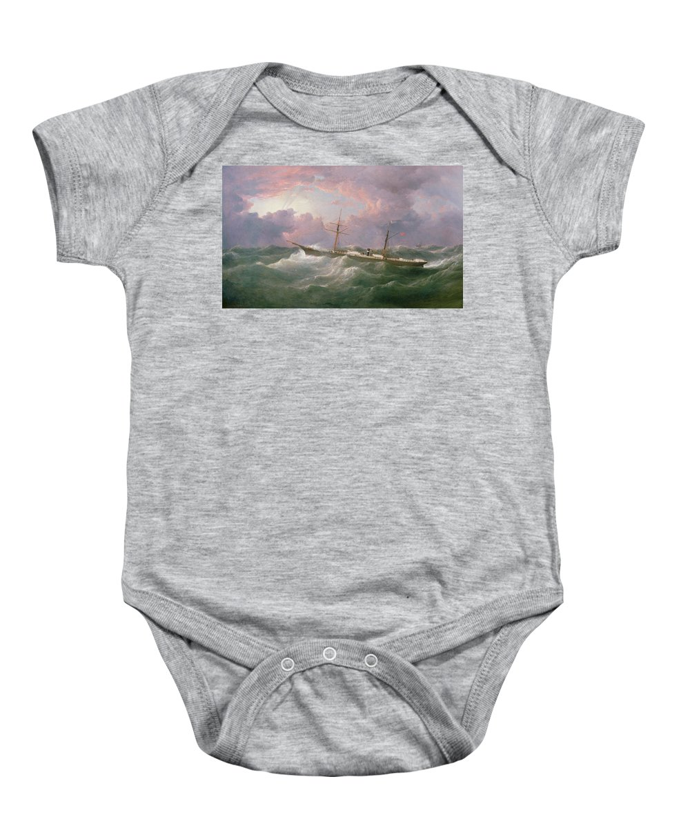 Storm; Sky Baby Onesie featuring the painting Portrait Of The Lsis A Steam And Sail Ship by Samuel Walters