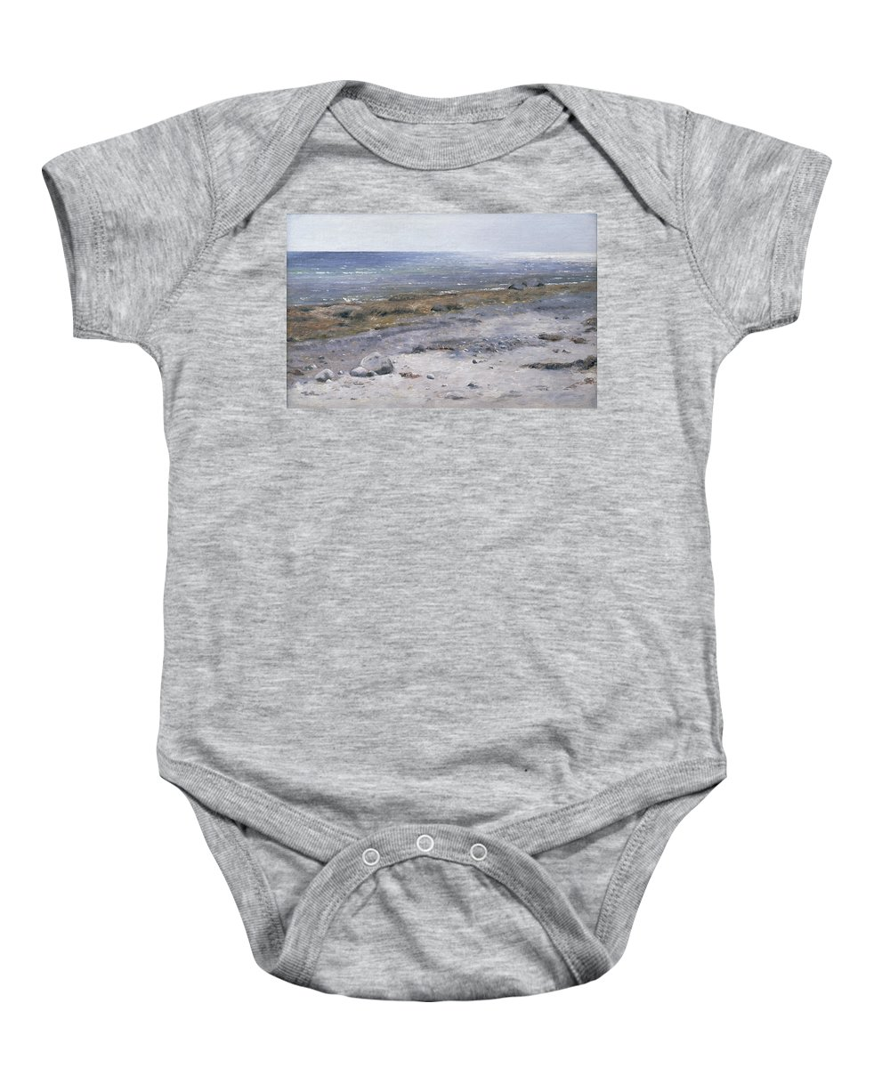 The Beach Baby Onesie featuring the painting The Beach Mols by Janus la Cour
