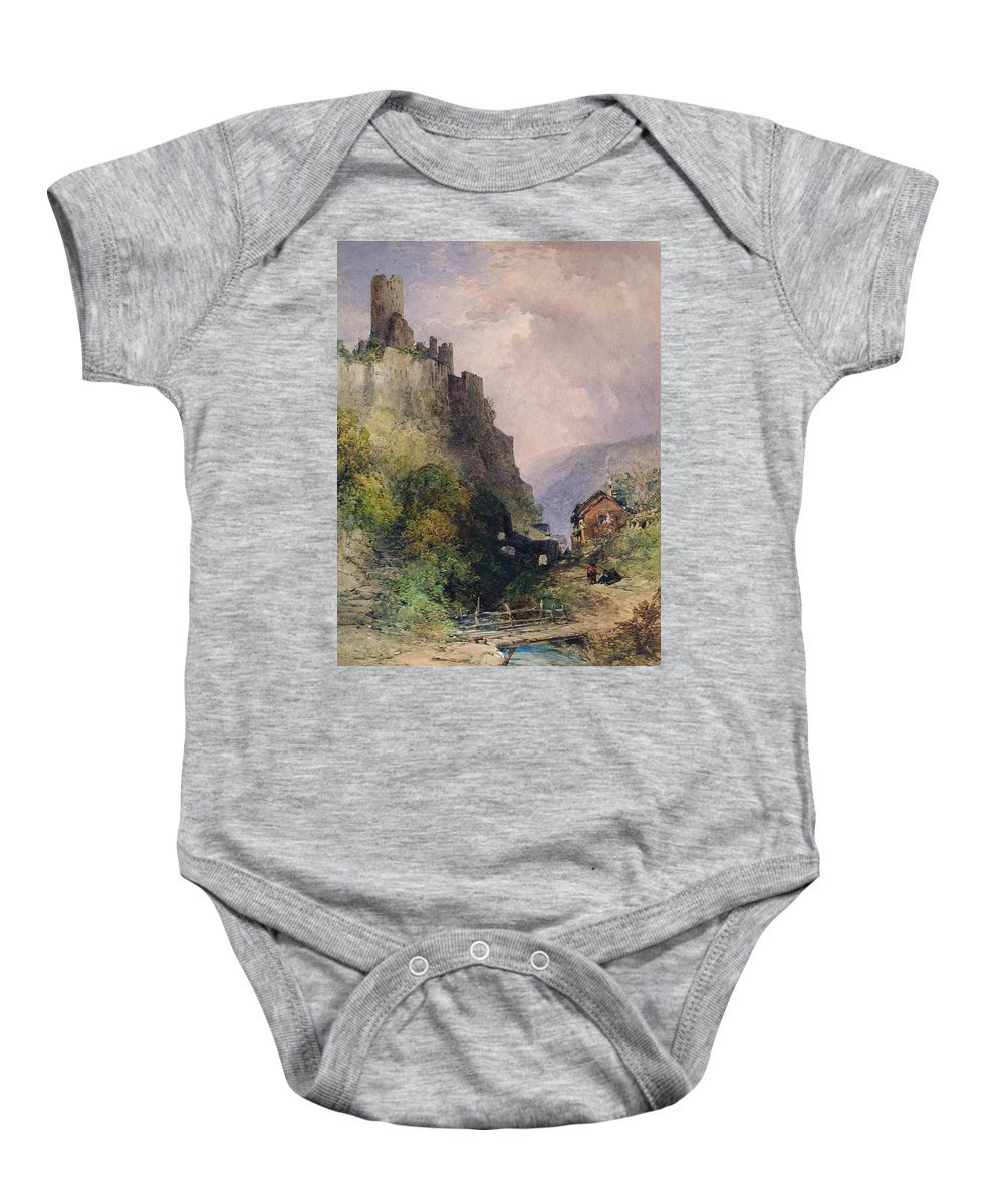 The Castle Of Katz On The Rhine Baby Onesie featuring the painting The Castle Of Katz On The Rhine by William Callow