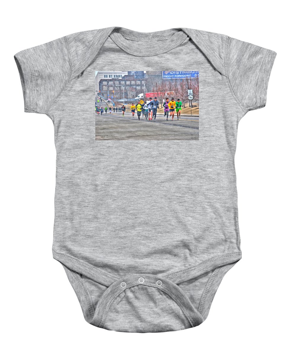 Baby Onesie featuring the photograph 01 Shamrock Run Series by Michael Frank Jr