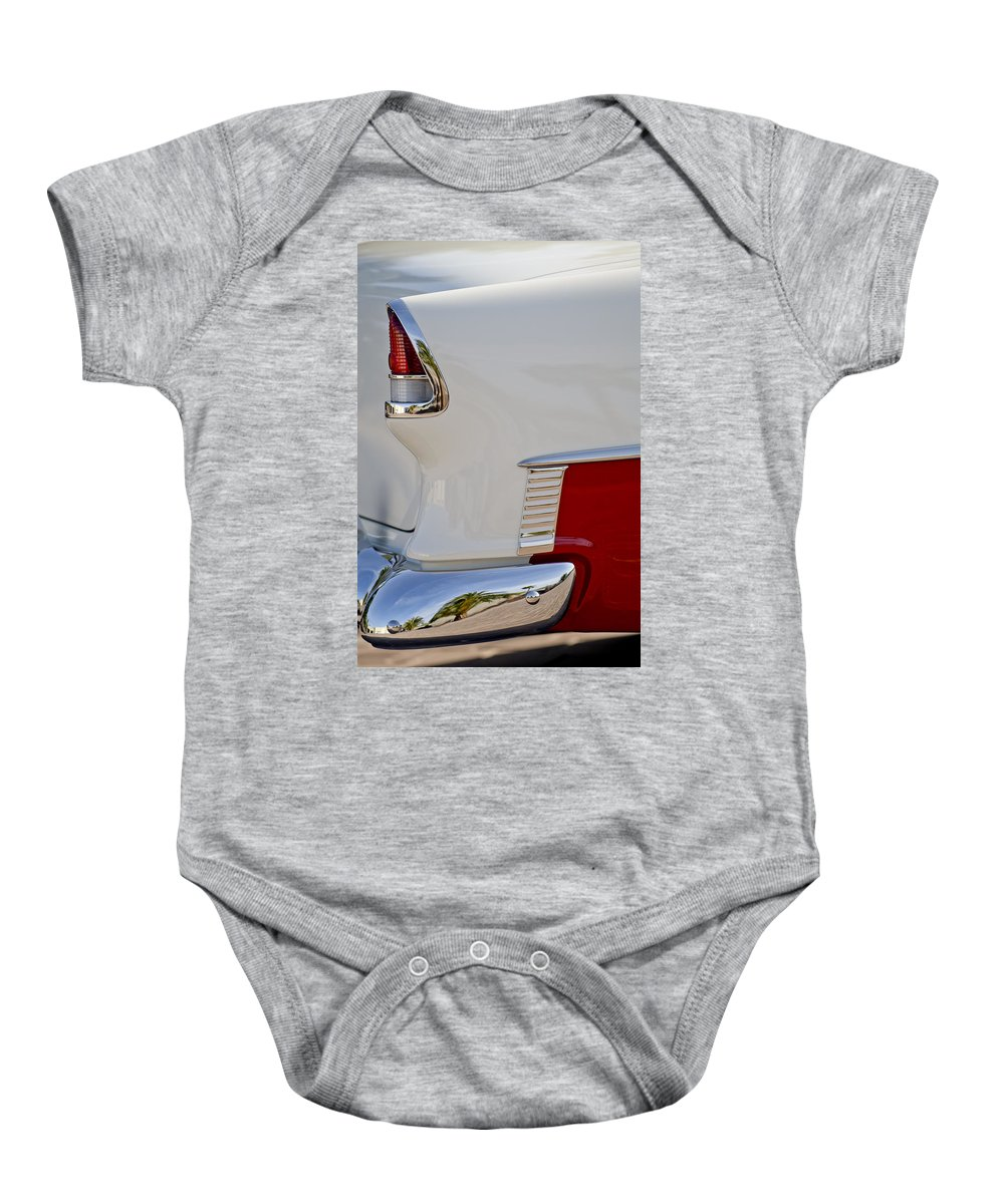 1955 Chevrolet 210 Baby Onesie featuring the photograph 1955 Chevrolet 210 Taillight by Jill Reger