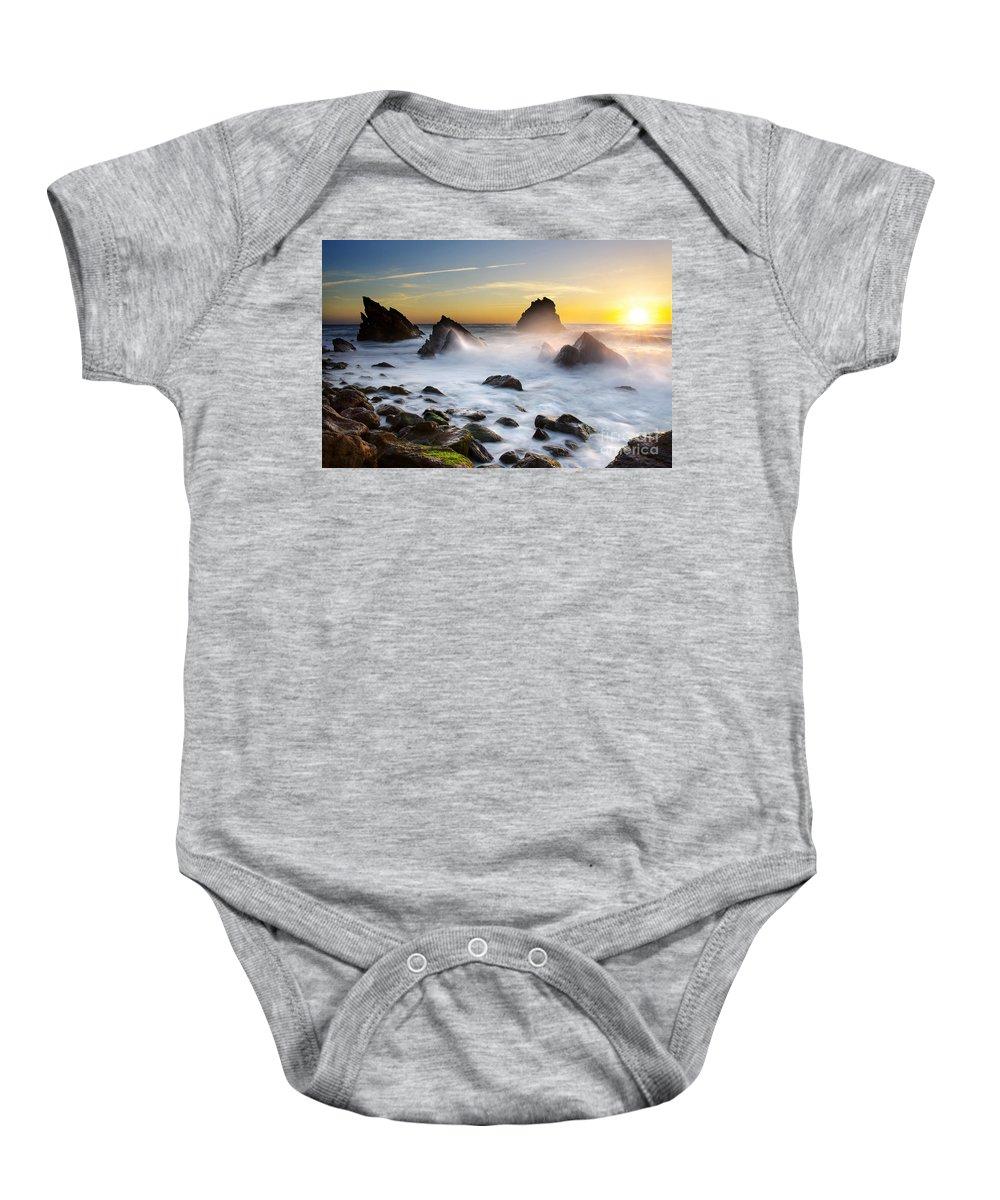 Adraga Baby Onesie featuring the photograph Adraga Beach by Carlos Caetano
