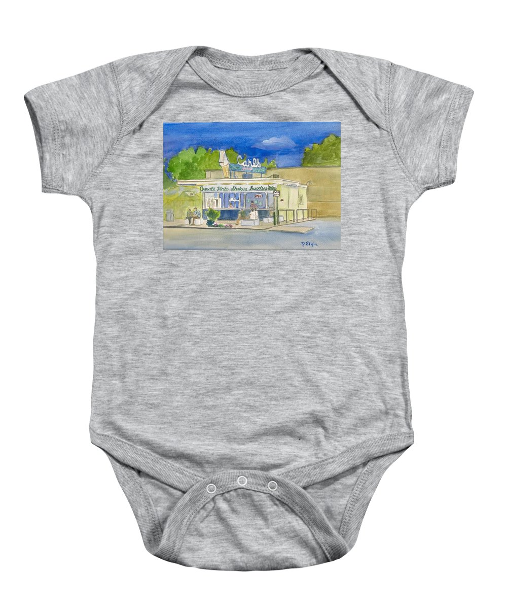 Icecream Store Baby Onesie featuring the painting Carls by Diane Elgin