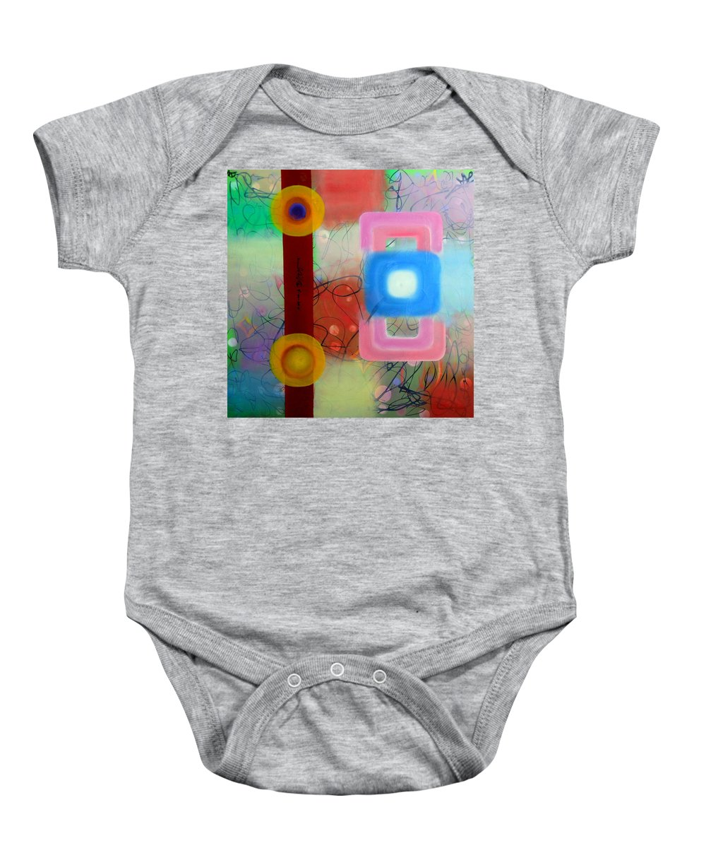 Cuban Son Music Rythmic Dancing Rythm Stepping Colorful Blue Magenta Lines African Baby Onesie featuring the painting Cuban Son by David Mintz