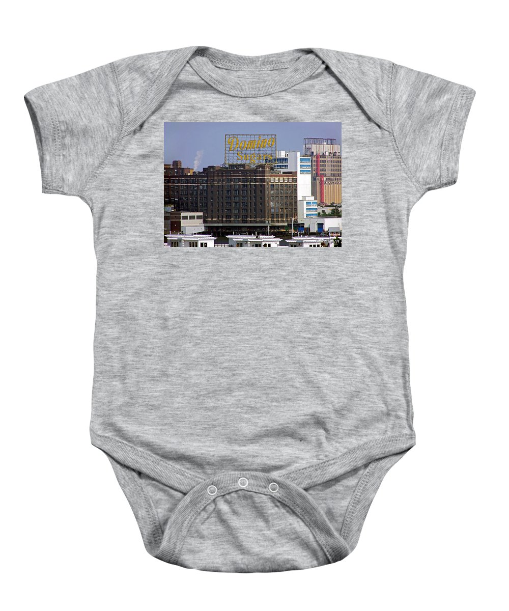 2d Baby Onesie featuring the photograph Domino Sugars by Brian Wallace