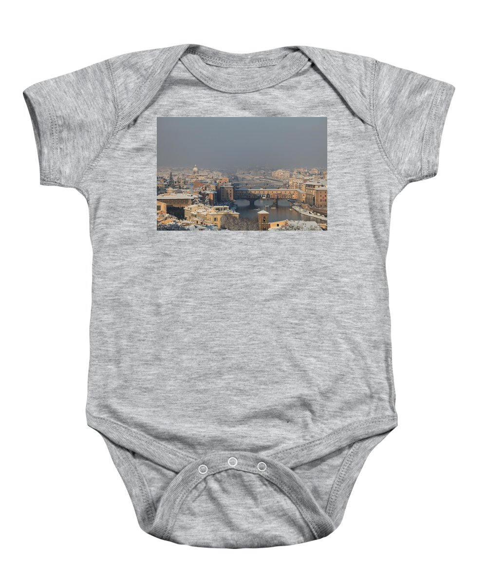Snow Baby Onesie featuring the photograph Firenze Under The Snow by Francesco Scali