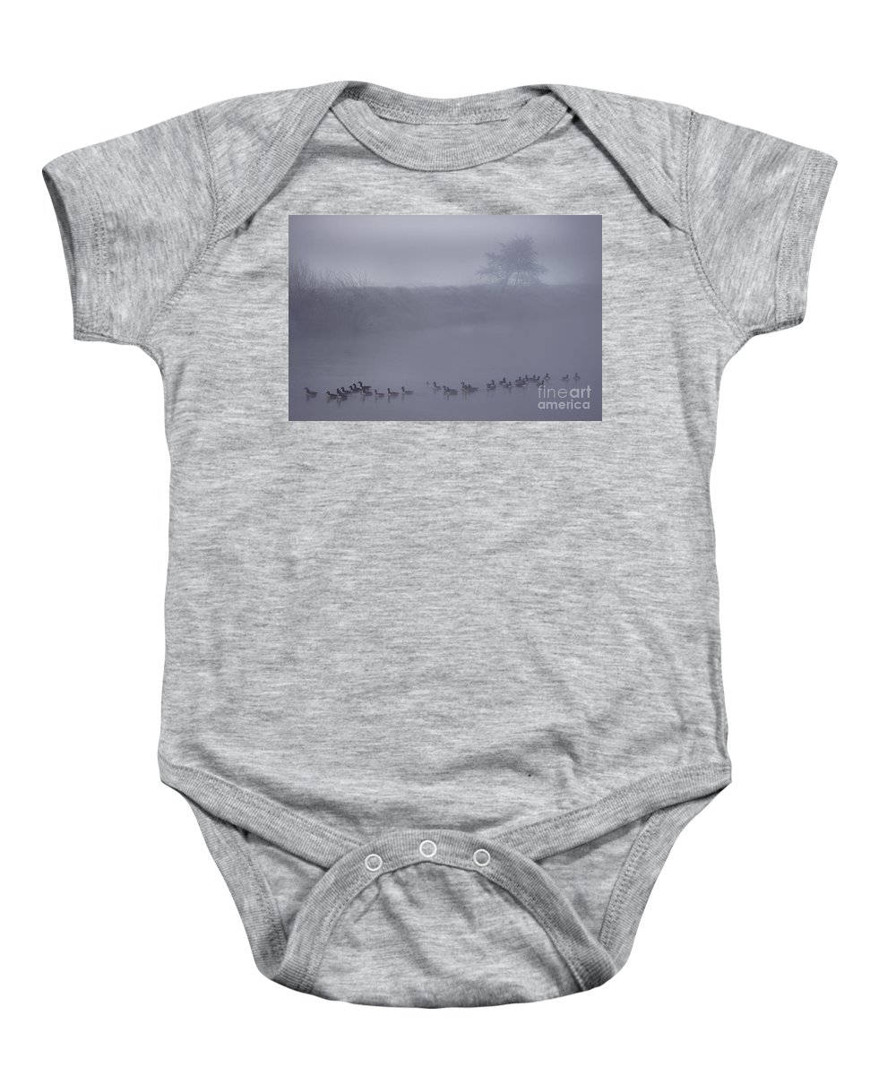 Wye Baby Onesie featuring the photograph Floating In The Fog by Angel Ciesniarska