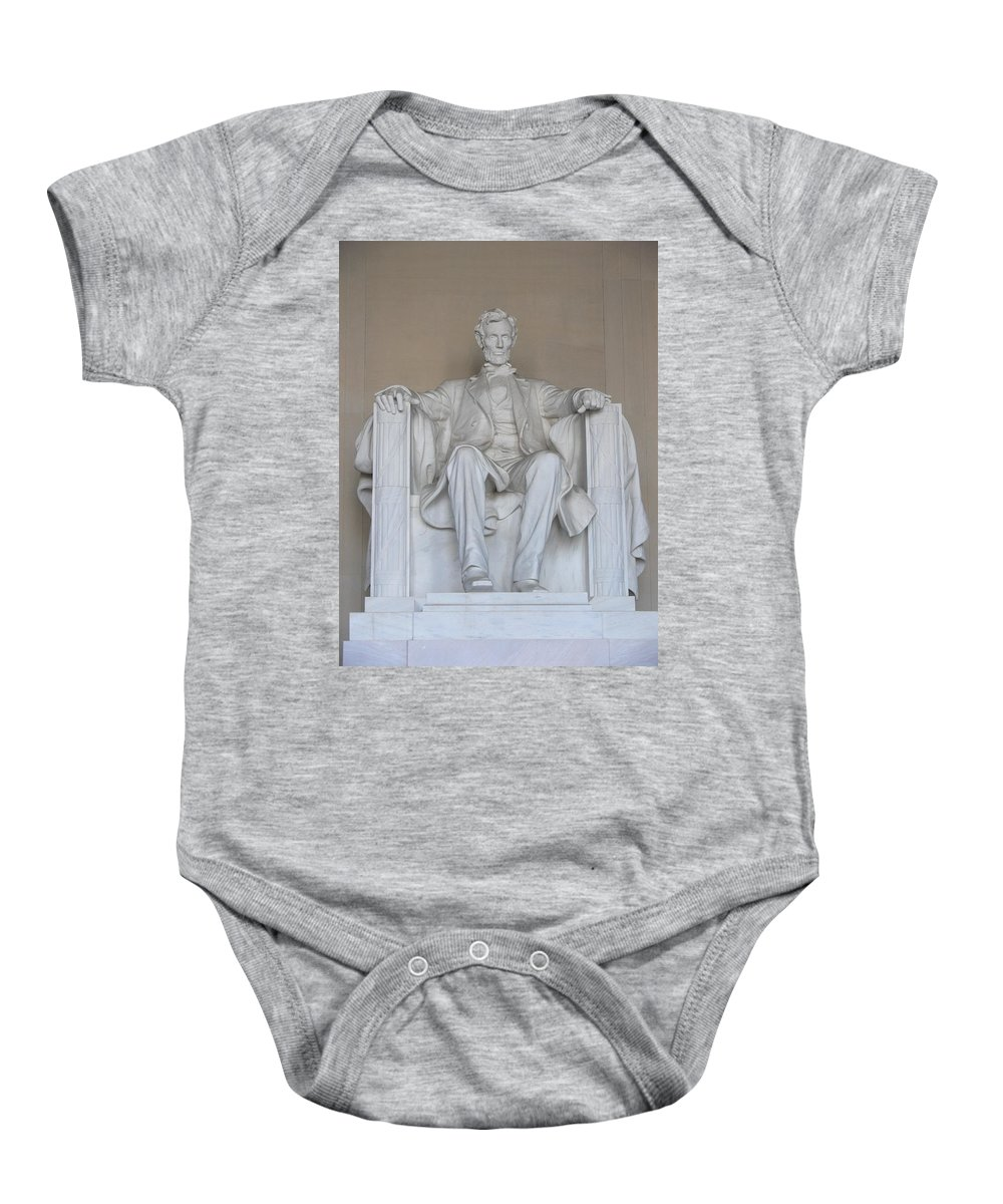 Washington Dc Capital Memorial Statue Lincoln Abe Abraham Freedom President Honest Baby Onesie featuring the photograph Honest Abe by Kevin Fortier
