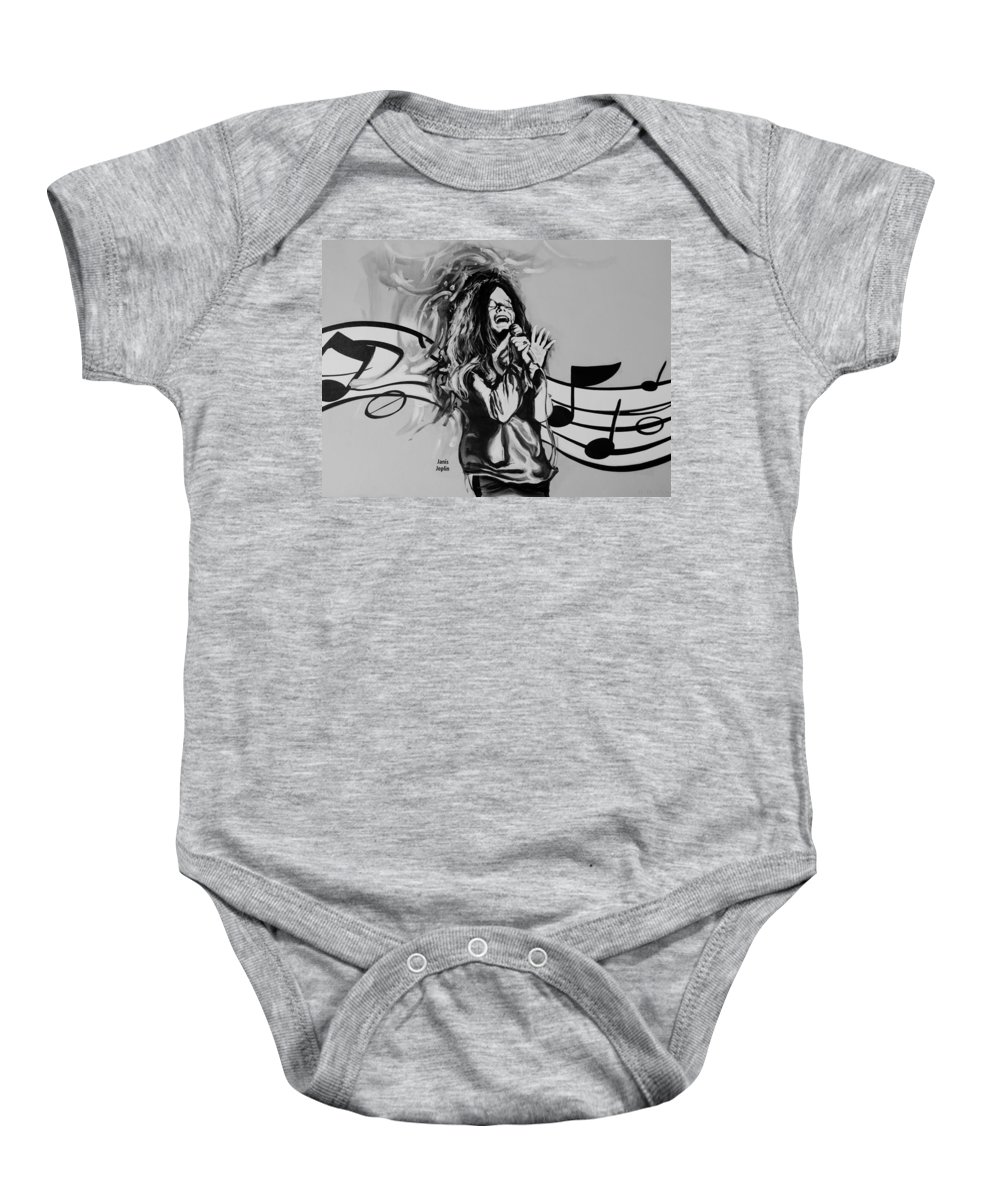 Janis Joplin Baby Onesie featuring the photograph Janis In Black And White by Rob Hans