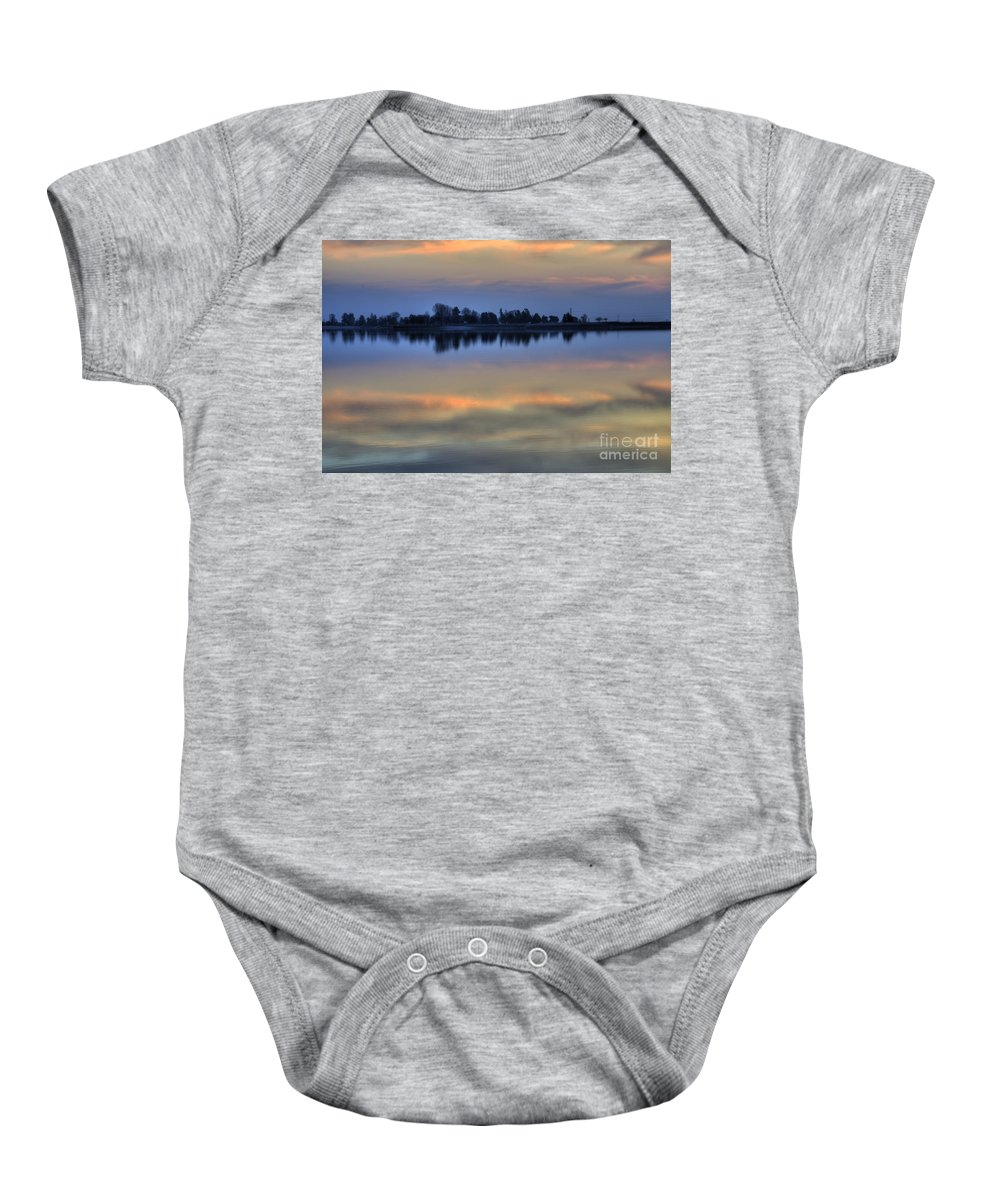 Lake Baby Onesie featuring the photograph Lake Sunset by Jim And Emily Bush