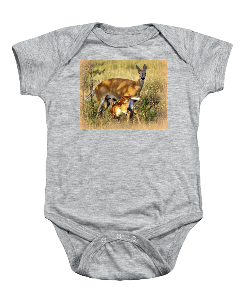 Deer Baby Onesie featuring the photograph Nursing Fawn by Marty Koch